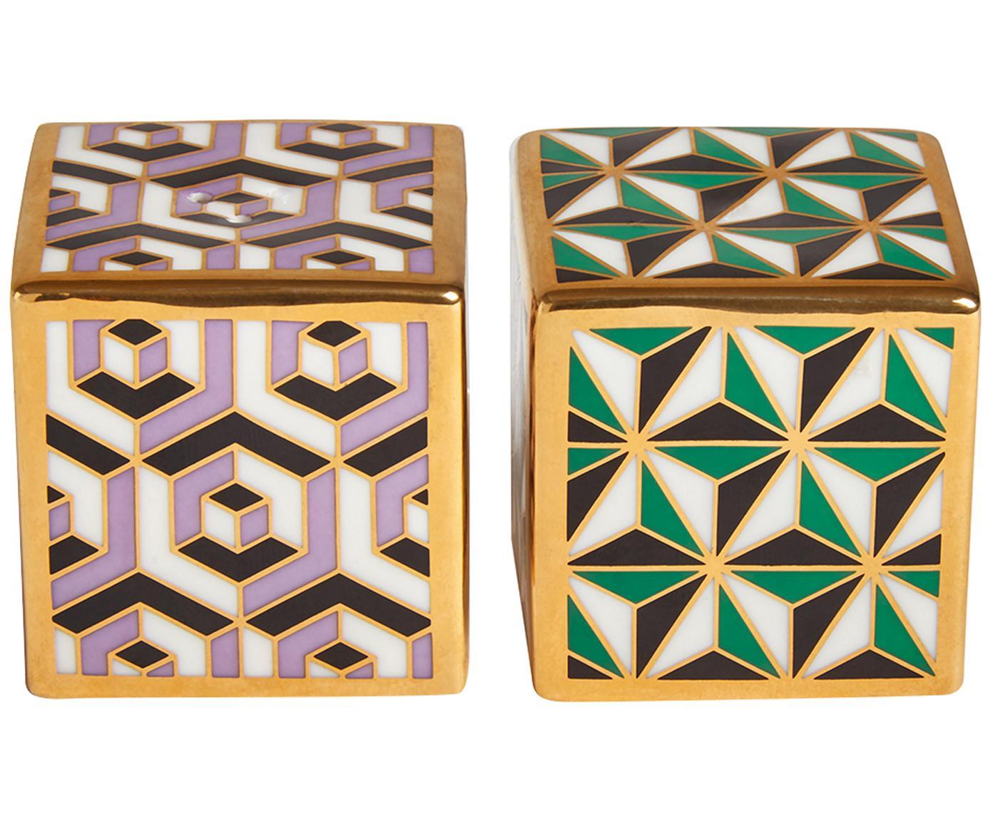 Design zout- en peperstrooier Versailles, verguld, 2-delig, Porselein, 24-karaats verguld, Lila, groen, goudkleurig, 5 x 5 cm