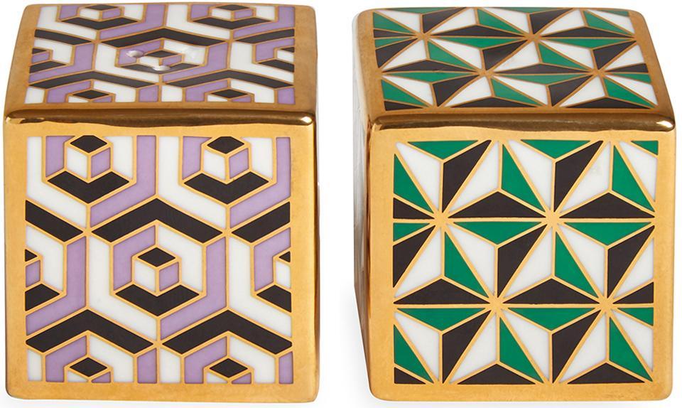 Designer Salz- und Pfefferstreuer Versailles, vergoldet, 2er-Set, Porzellan, 24 Karat teilvergoldet, Lila, Grün, Gold, 5 x 5 cm