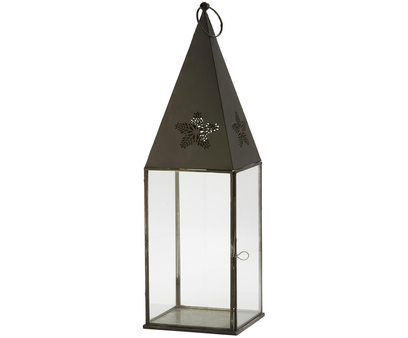 Lanterna in metallo e vetro Aurinia, Cornice: metallo rivestito, Nero, Larg. 13 x Alt. 43 cm