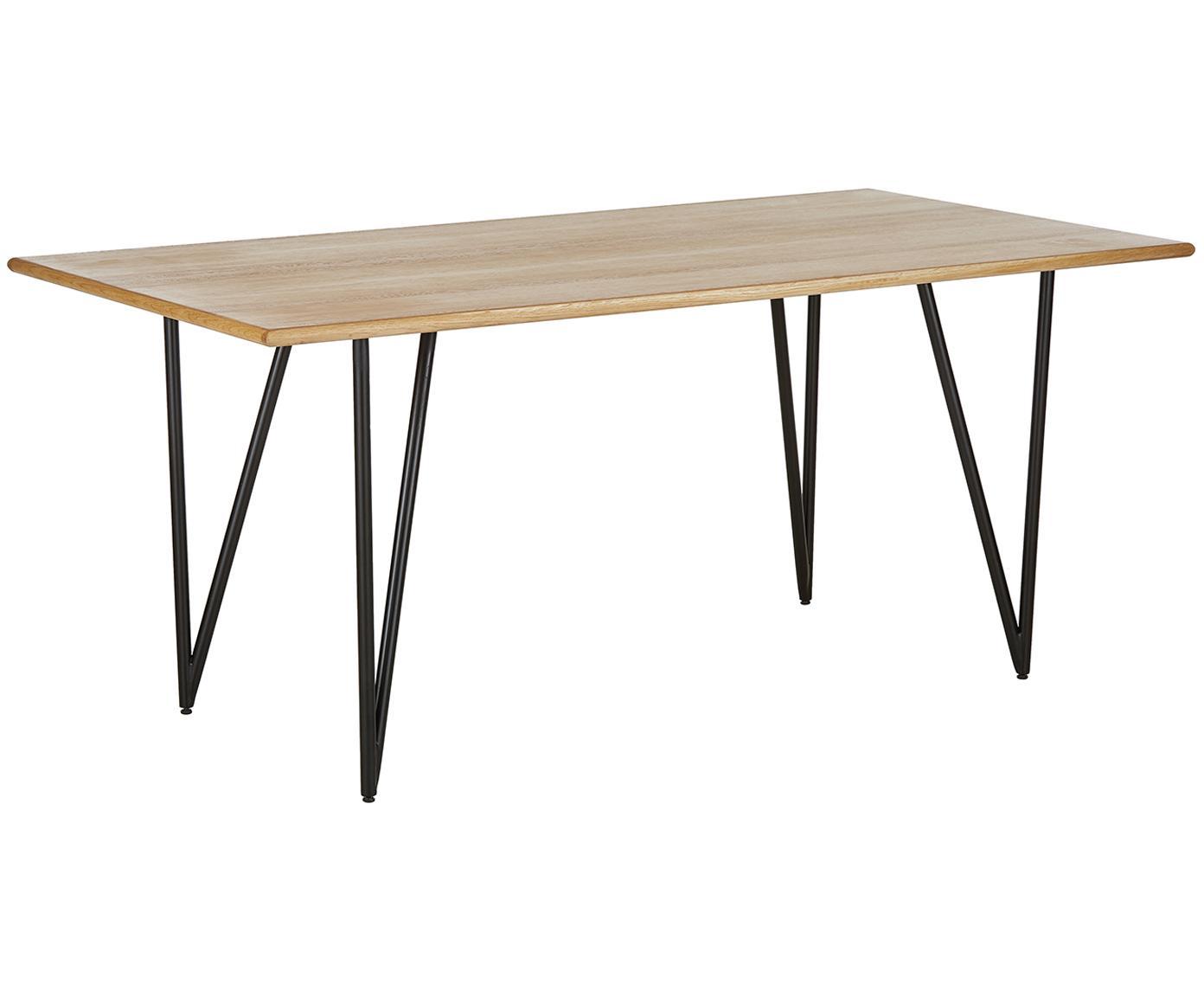 Eettafel Juno uit eikenhoutfineer, Tafelblad: MDF met eikenhoutfineer e, Frame: gepoedercoat metaal, Eikenhoutfineer, B 180 x D 90 cm