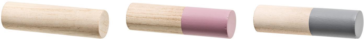 Set 3 ganci appendiabiti in legno Mandi, Legno di Paulownia, Marrone, rosa, grigio, Ø 3 x Prof. 11 cm