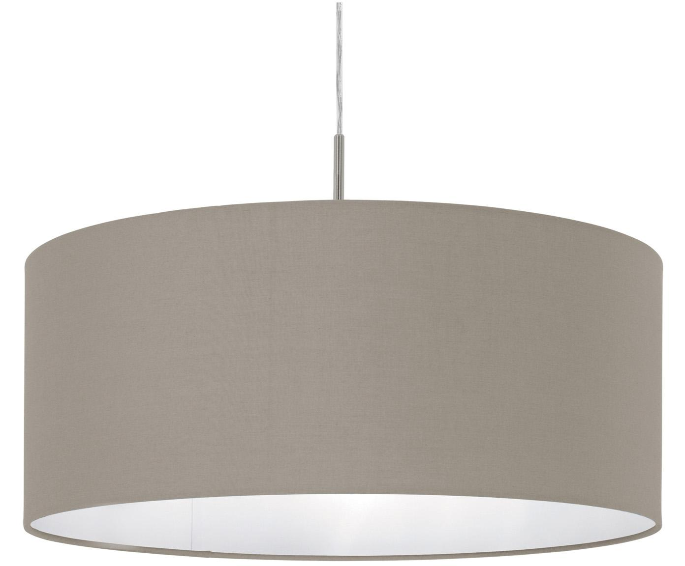 Pendelleuchte Parry, Baldachin: Metall, vernickelt, Lampenschirm: Textil, Silberfarben,Taupe, ∅ 53 x H 25 cm
