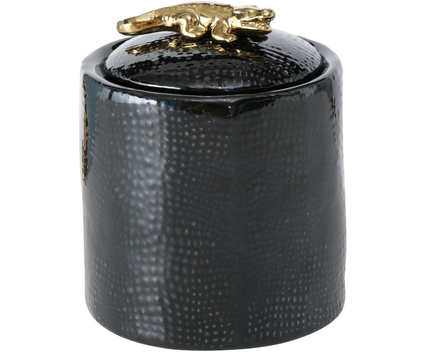 Schmuckdose Kroko, Porzellan, Schwarz, Ø 9 x H 11 cm
