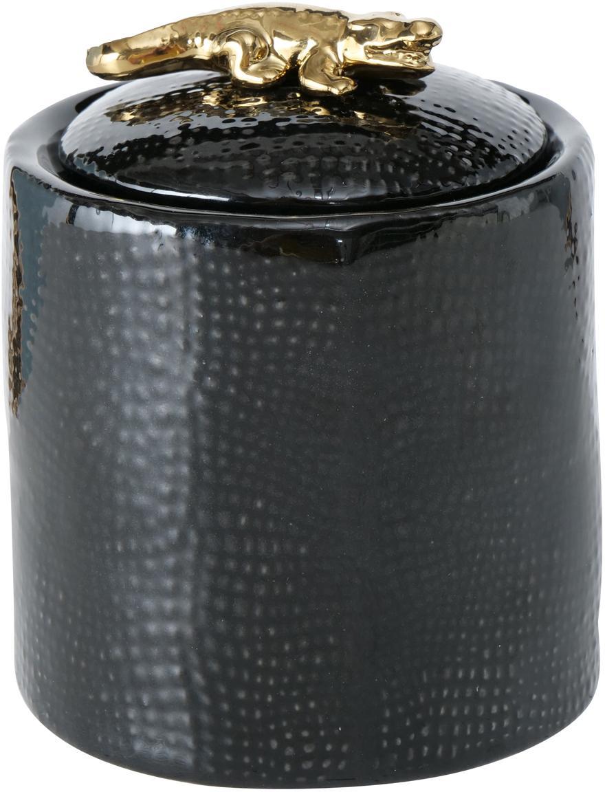 Joyero Kroko, Porcelana, Negro, Ø 9 x Al 11 cm