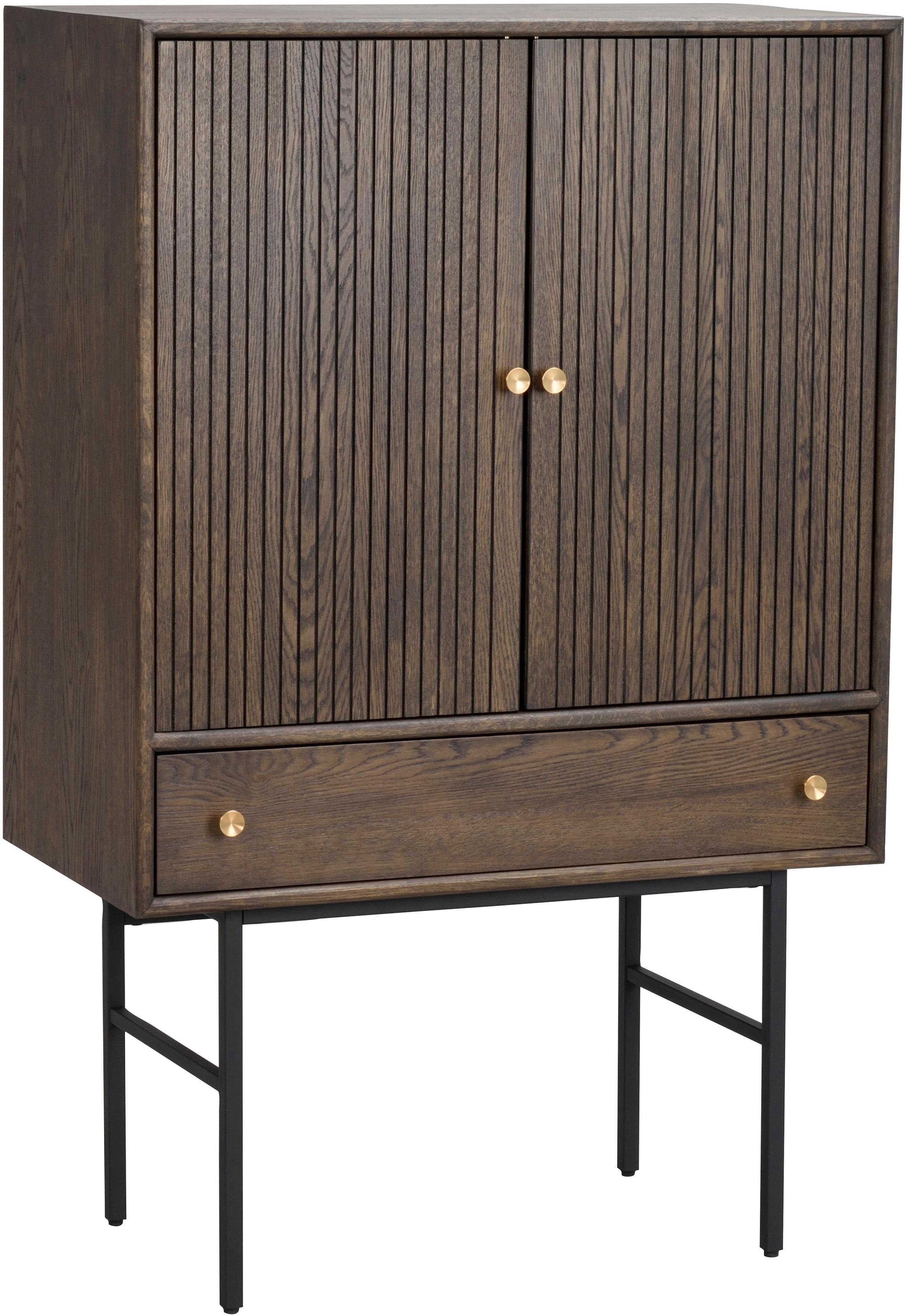 Dressoir Clearbrook met 2 deuren, Frame: MDF met eikenhoutfineer, Poten: gepoedercoat metaal, Bruin, zwart, 79 x 125 cm