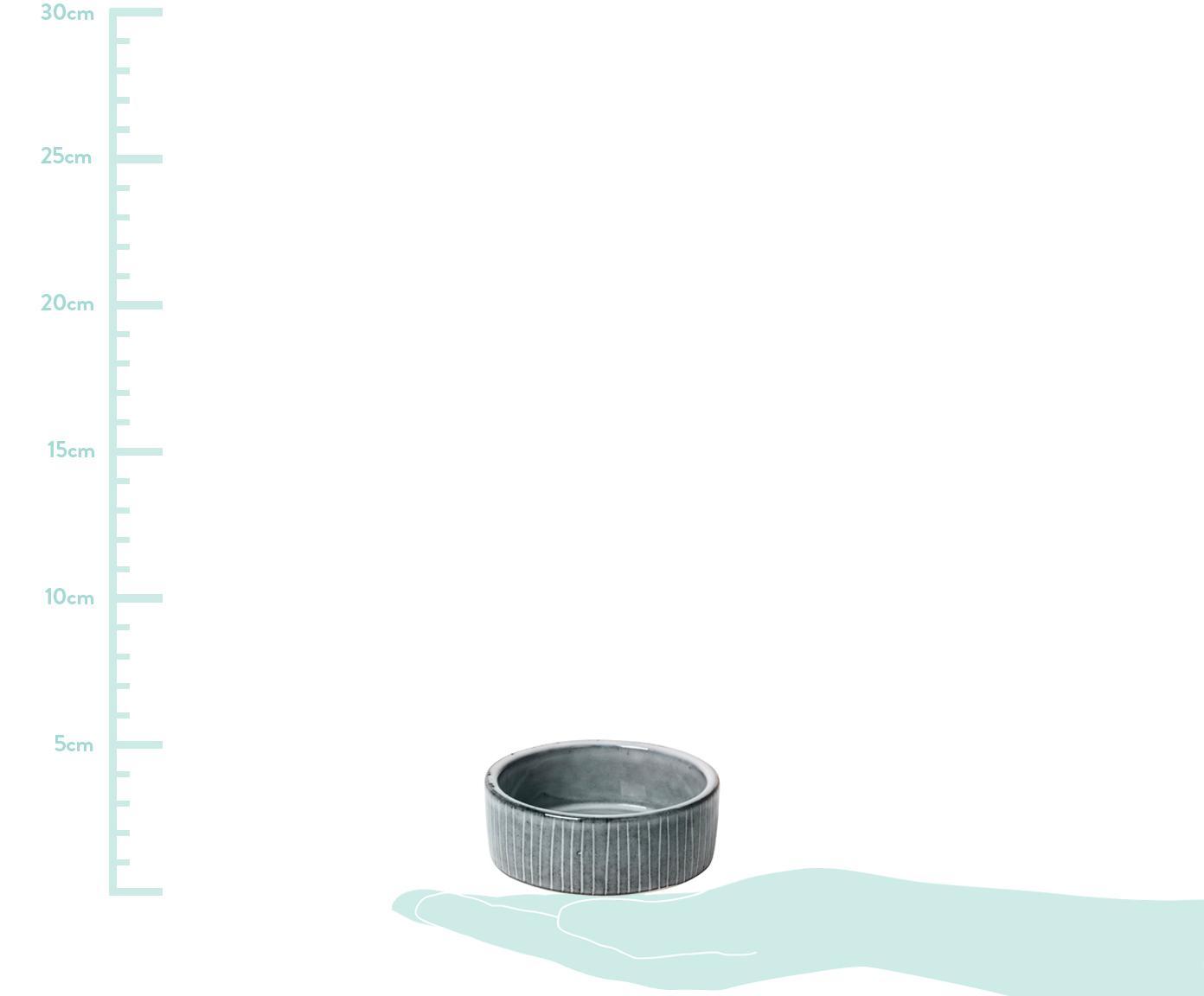 Handgemachte Dipschalen Nordic Sea aus Steingut, 4 Stück, Steingut, Grau- und Blautöne, Ø 8 x H 3 cm