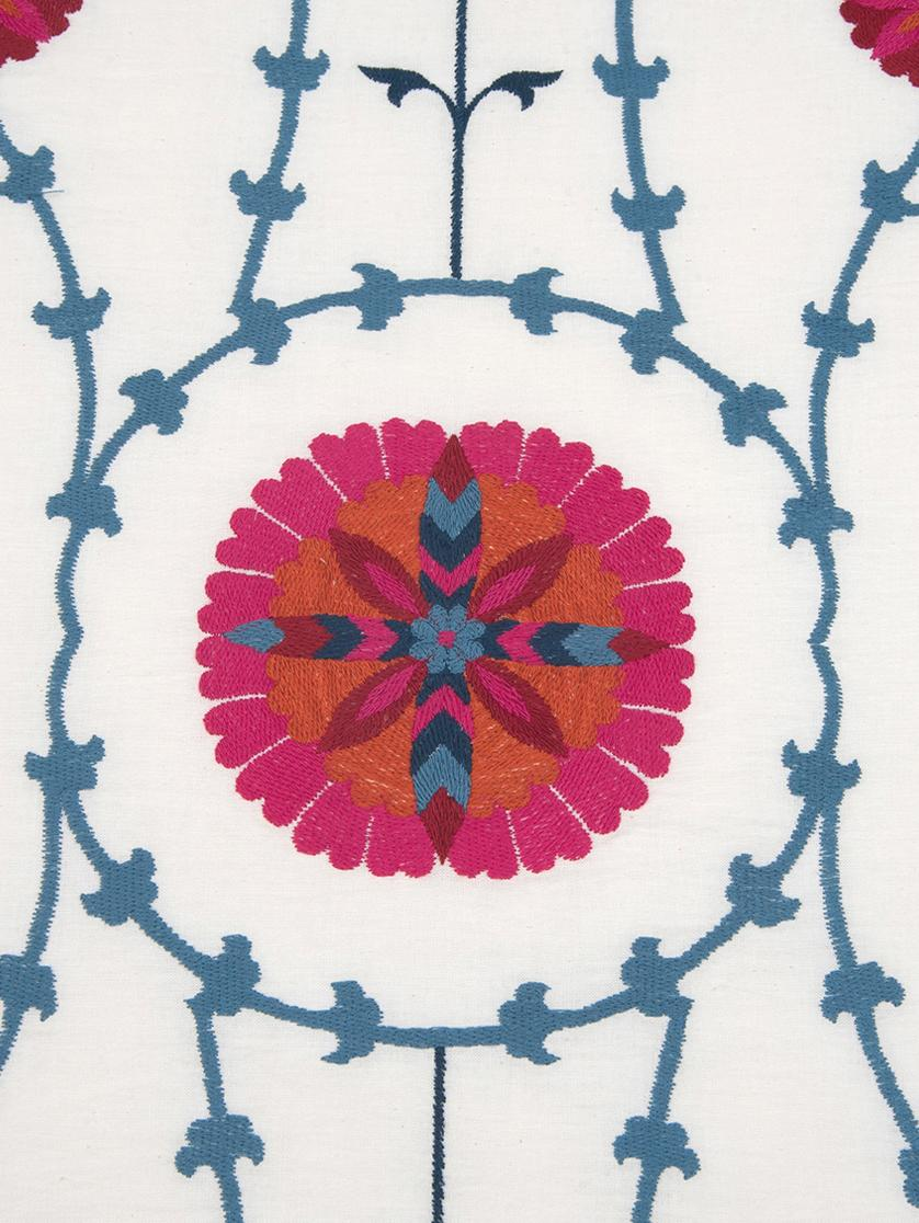 Copriletto ricamato Tabula, 55% cotone, 45% viscosa, Bianco crema, multicolore, Larg. 160 x Lung. 220 cm