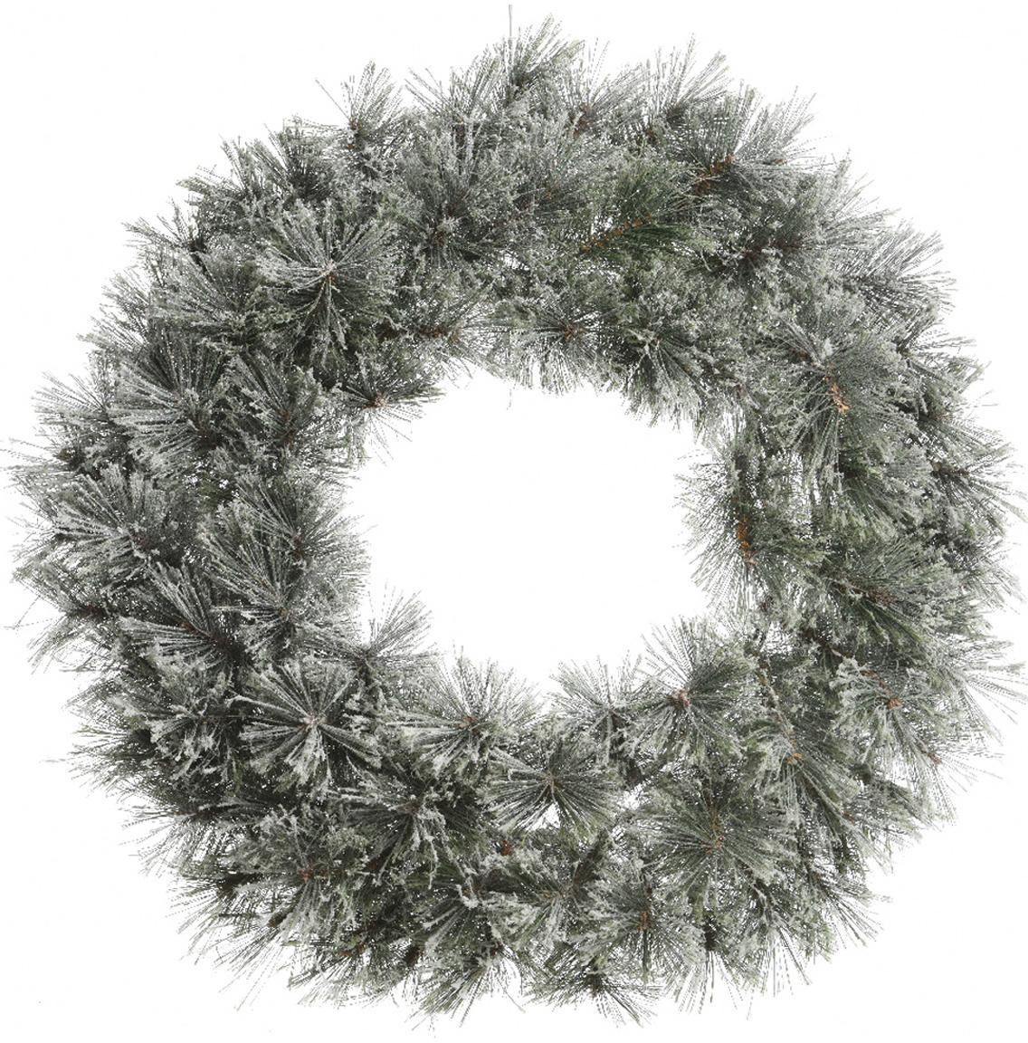 Corona navideña Carol, Estructura: metal, Verde, blanco, Ø 63 x F 20 cm