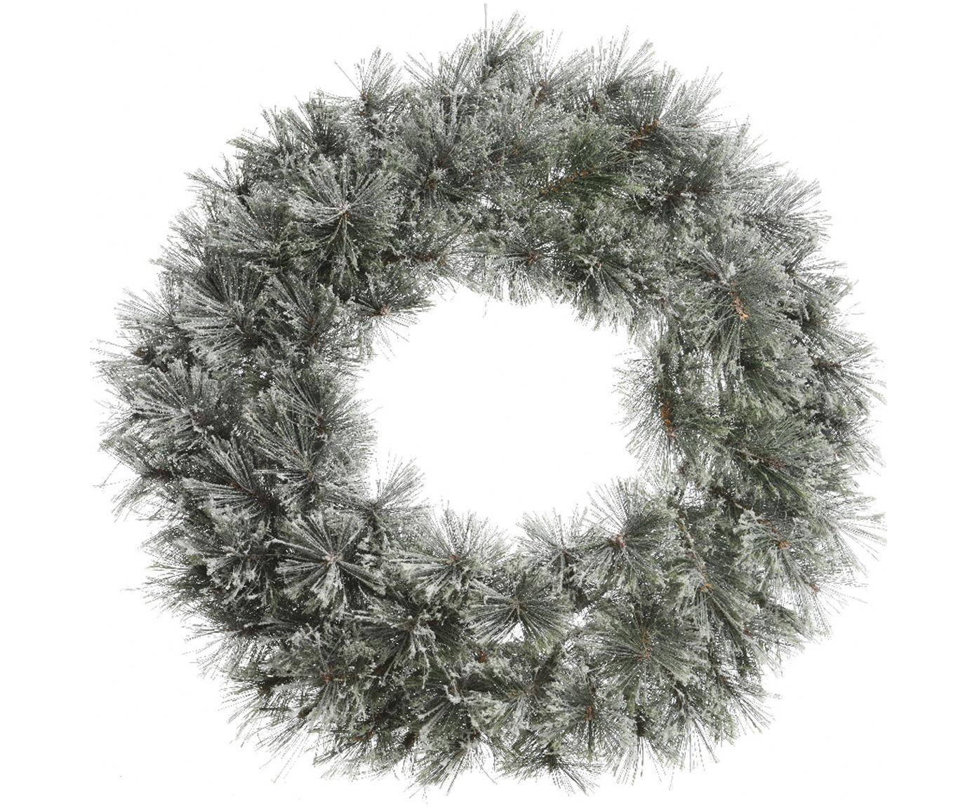 Weihnachtskranz Carol, Gestell: Metall, Grün, Weiss, Ø 63 x T 20 cm