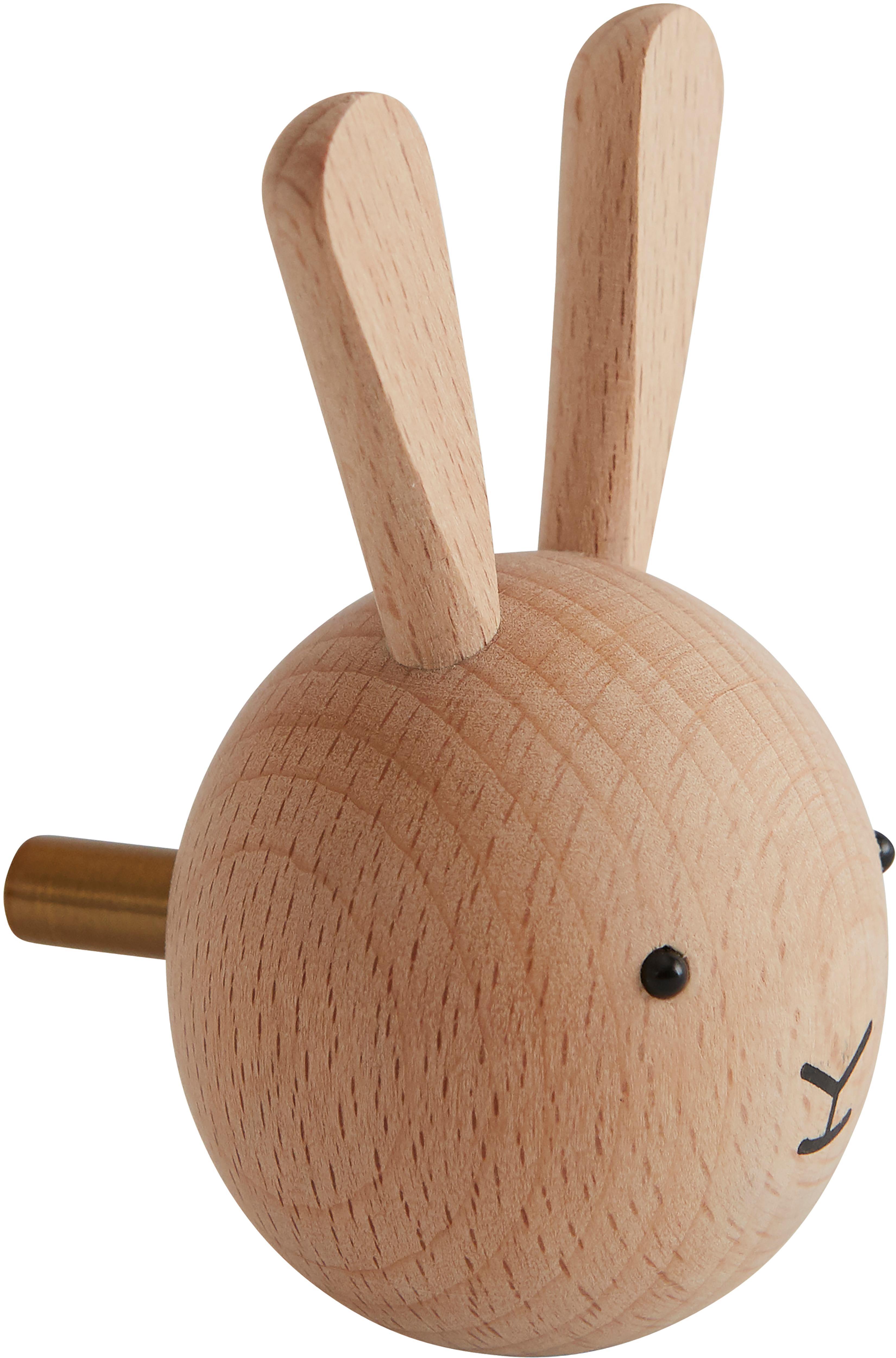 Hak ścienny z drewno bukowego Rabbit, Drewno bukowe, Drewno naturalne, czarny, S 5 x W 8 cm