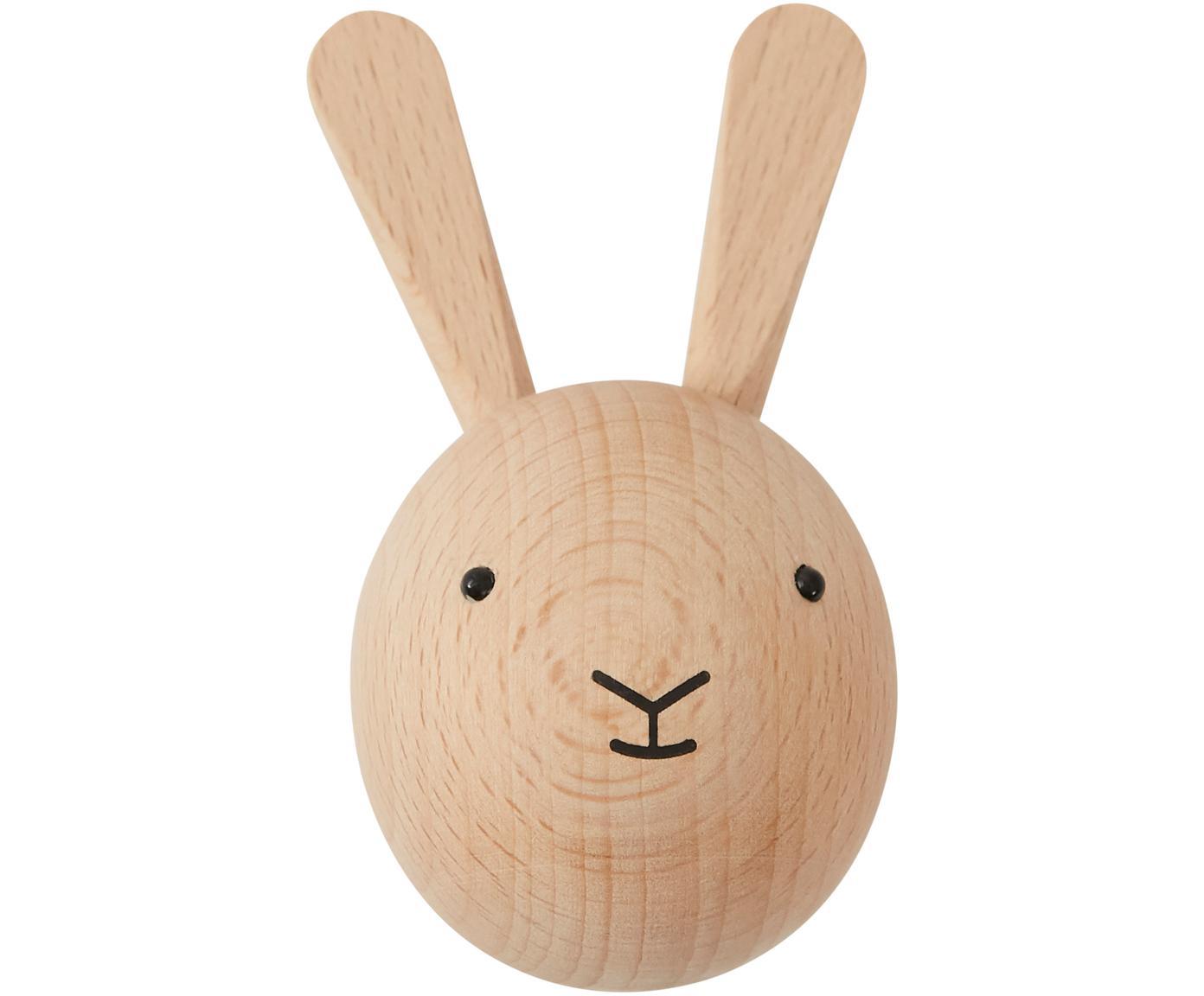Gancio da parete Rabbit in legno di faggio, Legno di faggio, Legno, nero, Larg. 5 x Alt. 8 cm