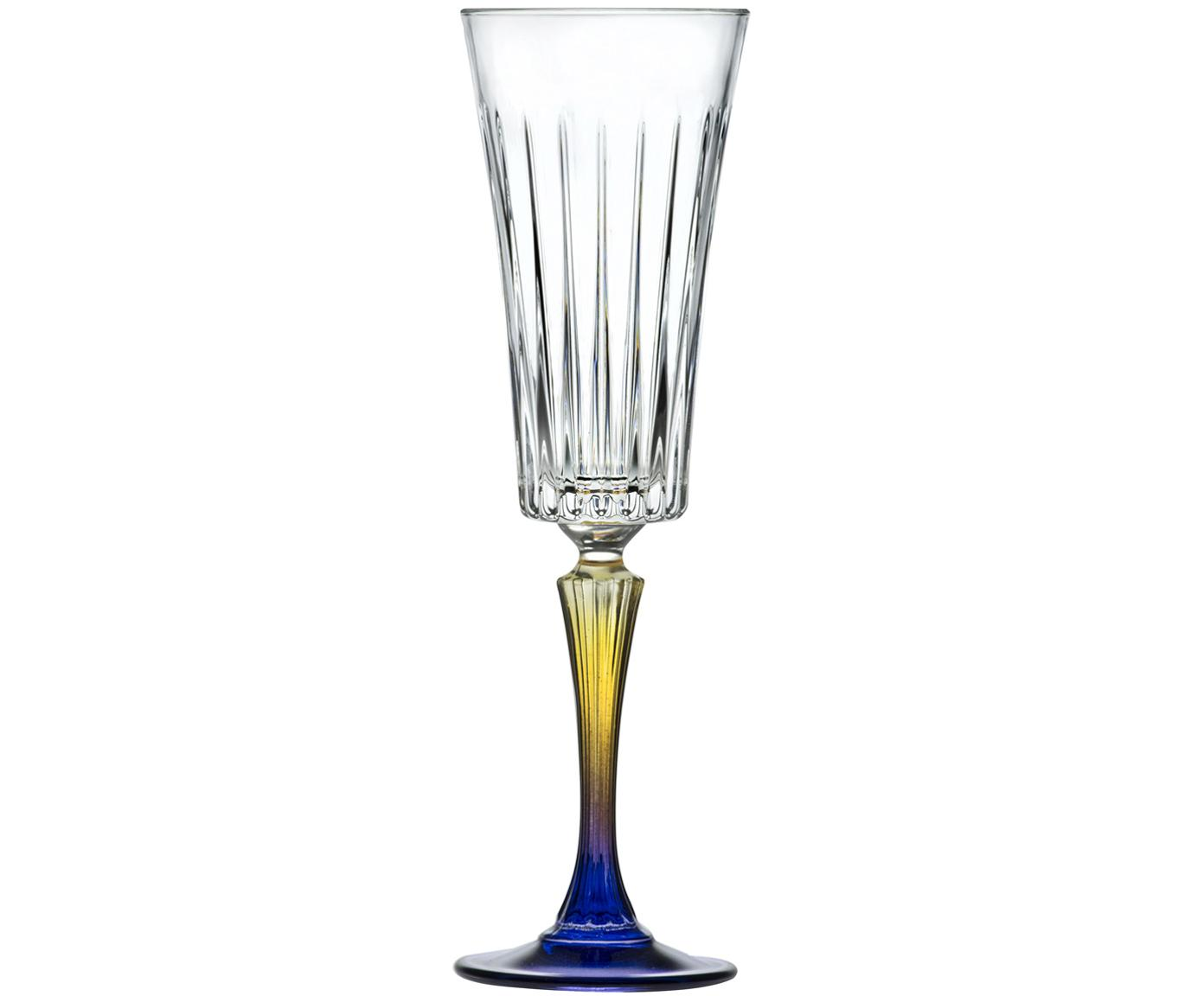Kristall-Sektgläser Gipsy mit zweifarbigem Stiel, 6er-Set, Luxion-Kristallglas, Transparent, Gelb, Blau, Ø 7 x H 23 cm