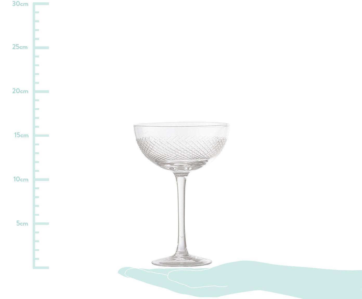 Champagneglazen Serena, 6 stuks, Glas, Transparant, wit, Ø 12 x H 16 cm