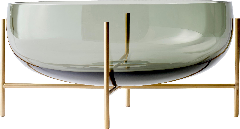 Bol Échasse, Estructura: latón, Bol: vidrio soblado, Gris oscuro, latón, Ø 30 x Al 14 cm