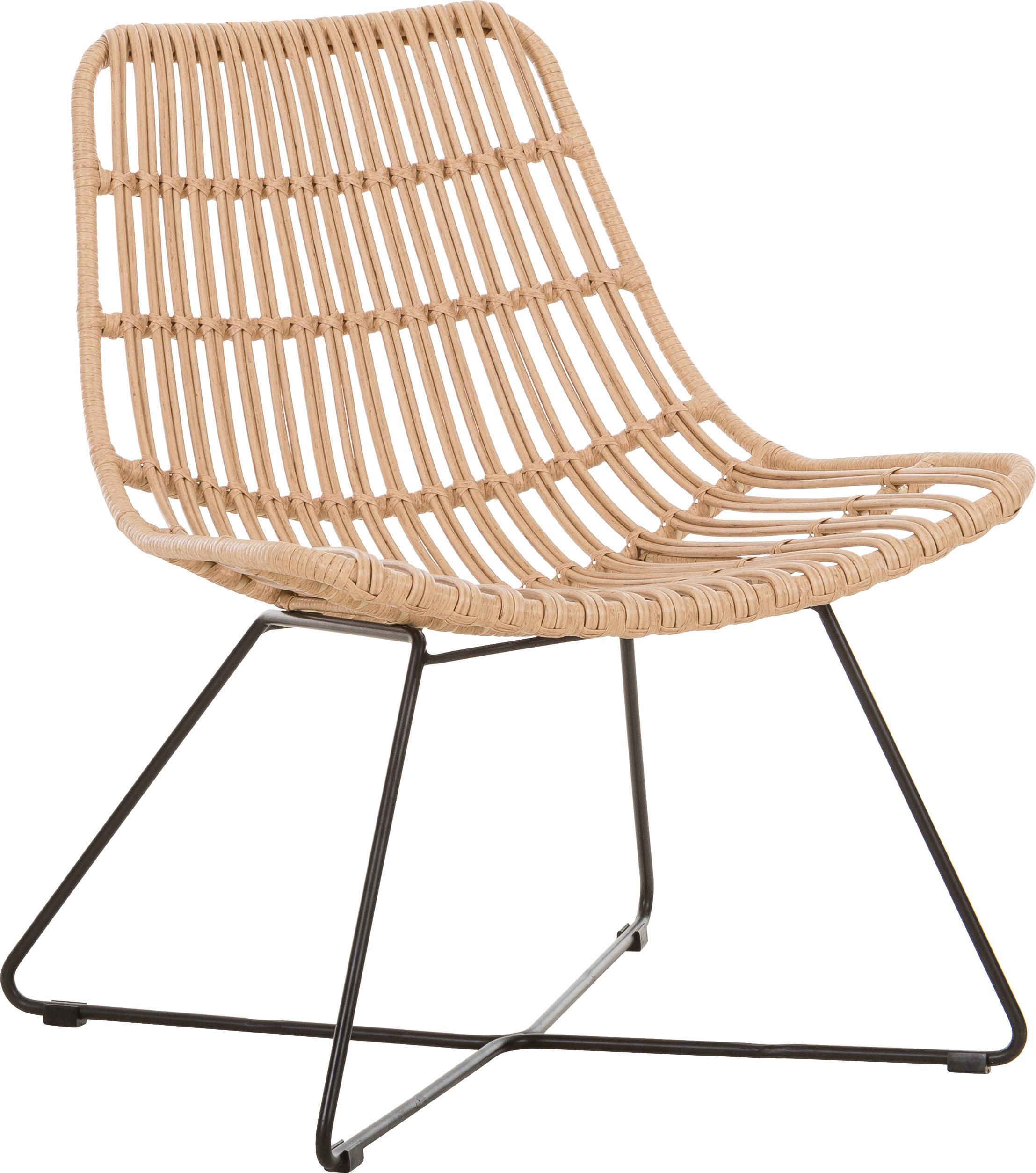 Sedia a poltrona con intreccio Sola, Seduta: treccia di polietilene, Struttura: metallo verniciato a polv, Marrone chiaro, Larg. 64 x Prof. 64 cm