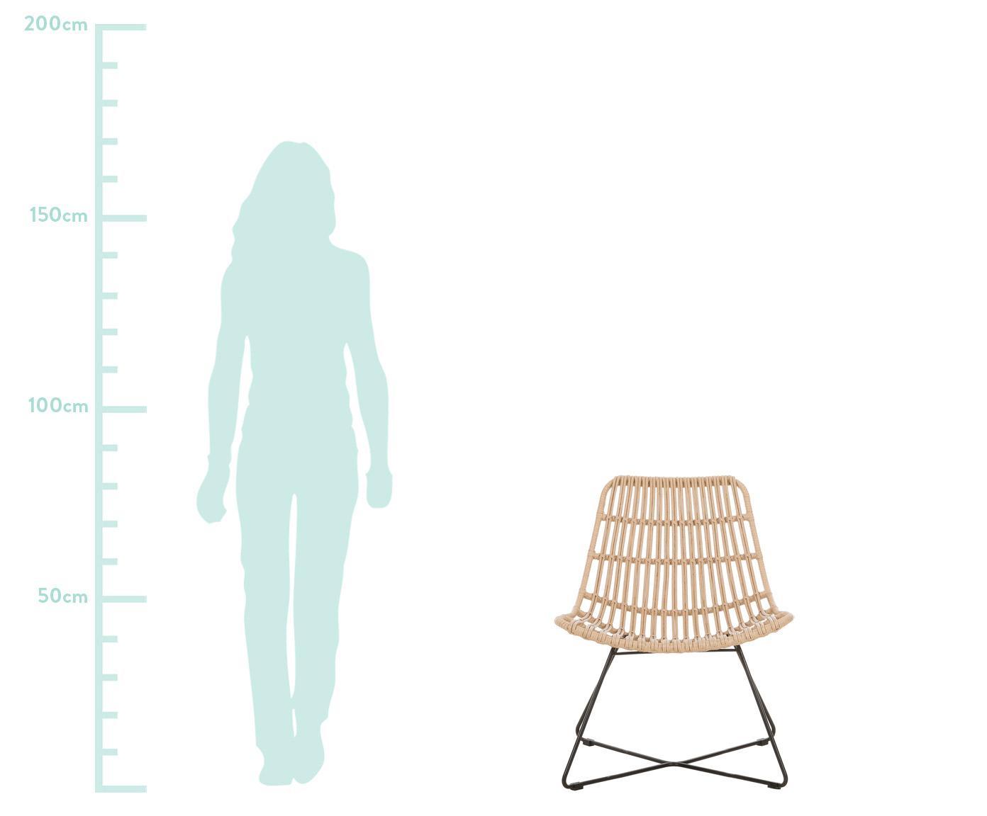 Fauteuil Costa met polyrotan, Zitvlak: polyethyleen-vlechtwerk, Frame: gepoedercoat metaal, Lichtbruin, B 64 x D 64 cm