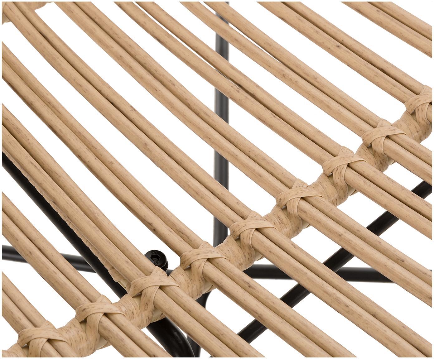 Stoel Sola, Zitvlak: polyethyleen-vlechtwerk, Frame: gepoedercoat metaal, Lichtbruin, B 64 x D 64 cm