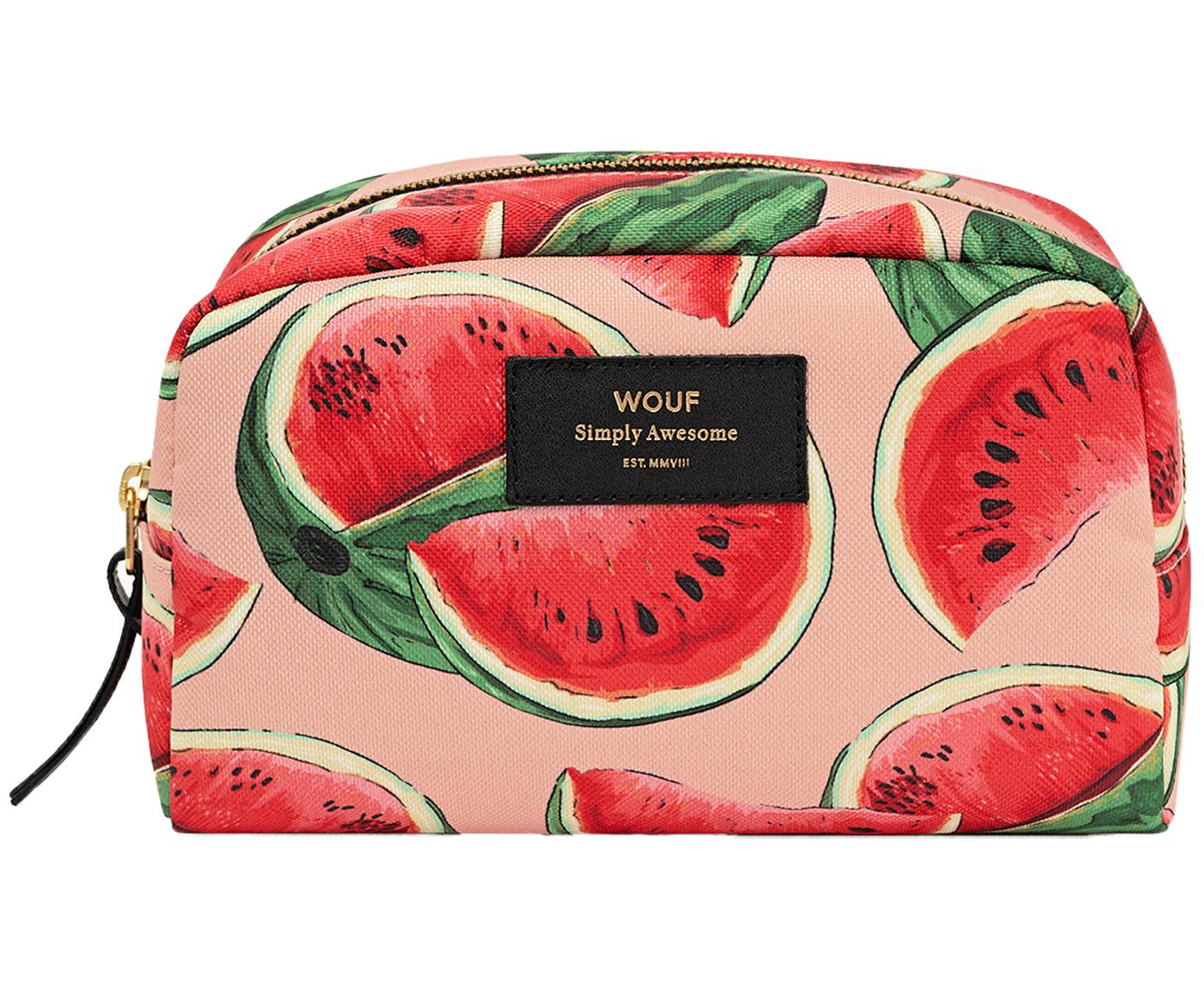 Make-up tasje Watermelon met binnenvak, Roze, rood, 21 x 14 cm