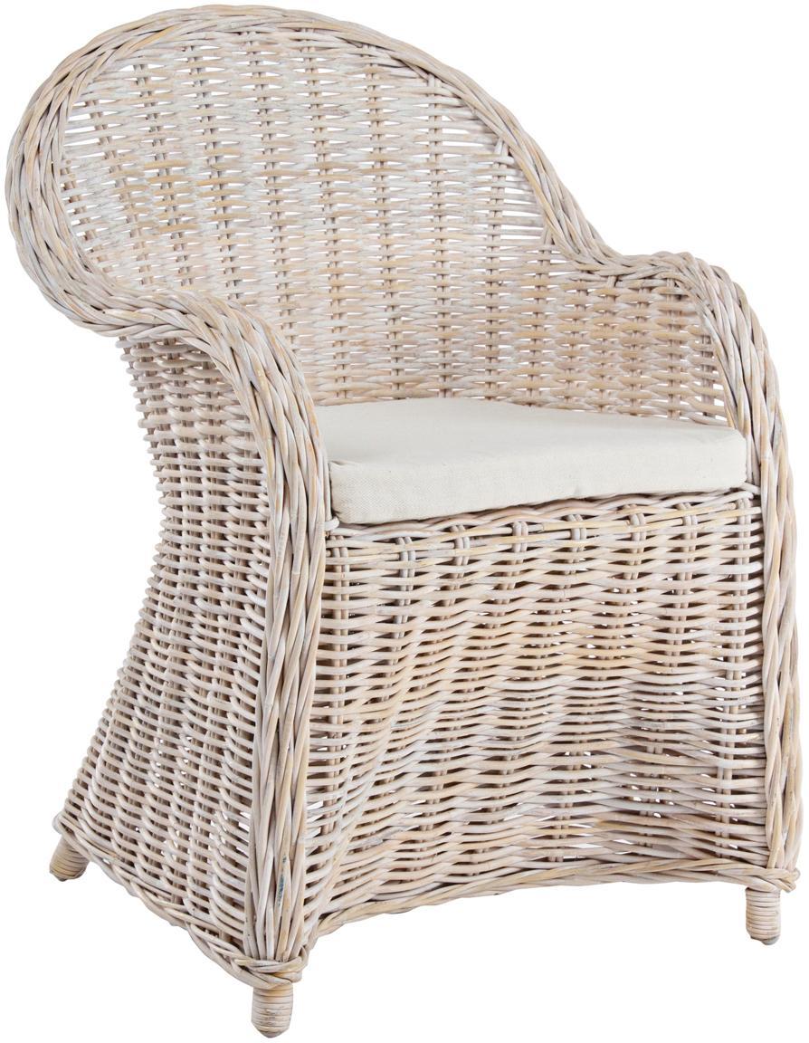 Fotel wypoczynkowy Martin, Tapicerka: bawełna, Jasny brązowy, biały, 9 x 5 cm