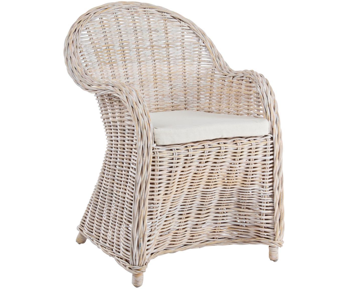 Loungefauteuil Martin, Bekleding: katoen, Rotankleurig, wit, 60 x 89 cm