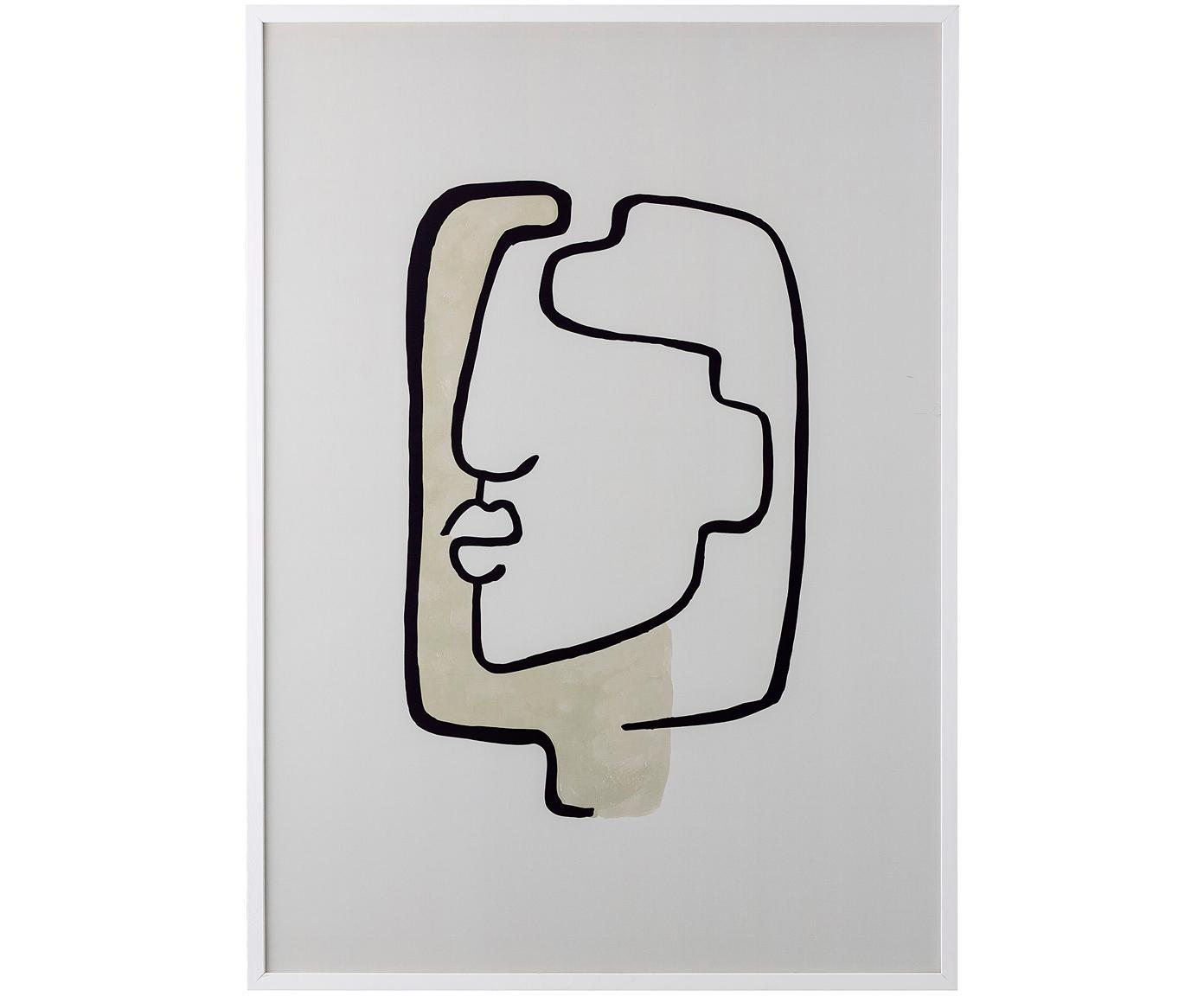 Ingelijste digitale print Tessa, Lijst: hout, Beige, wit, zwart, 52 x 72 cm