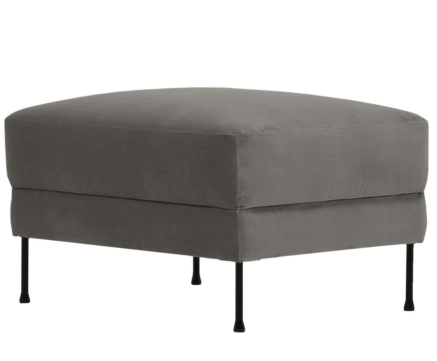 Sofa-Hocker Fluente aus Samt, Bezug: Samt (Hochwertiger Polyes, Gestell: Sperrholz, Spanplatte, Füße: Metall, pulverbeschichtet, Samt Braungrau, 62 x 46 cm