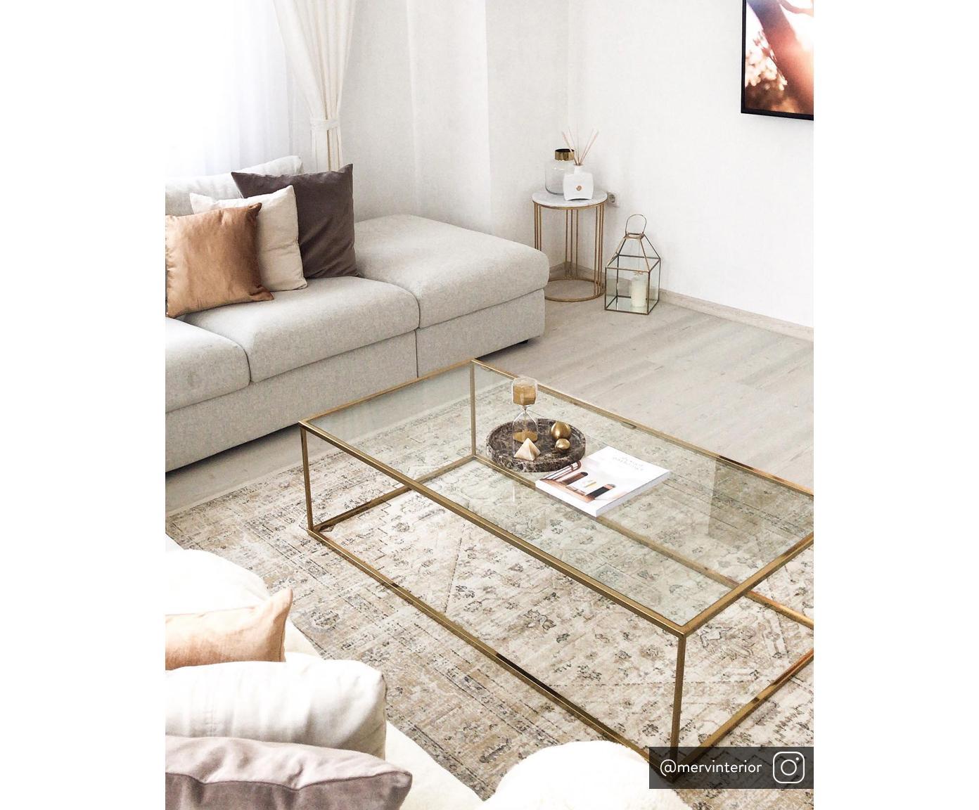 Konferenčný stolík so sklenenou doskou Maya, Stolová doska: sklo, priehľadná konštrukcia: odtiene lesklej zlatej