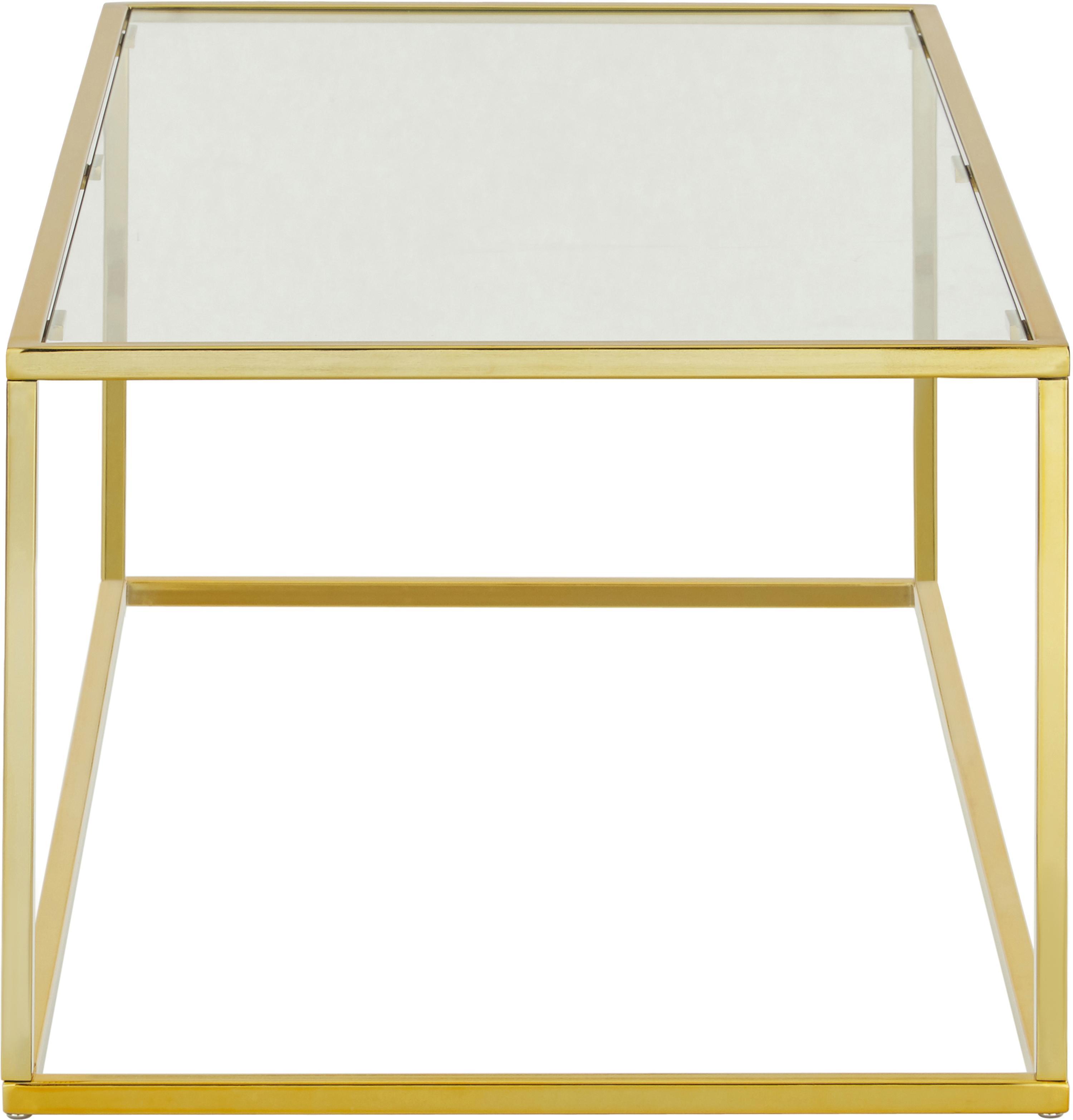 Tavolino da salotto con piano in vetro Maya, Piano d'appoggio: vetro temperato, Struttura: metallo zincato, Piano d'appoggio: vetro trasparente Struttura: dorato, lucido, Larg. 110 x Alt. 36 cm