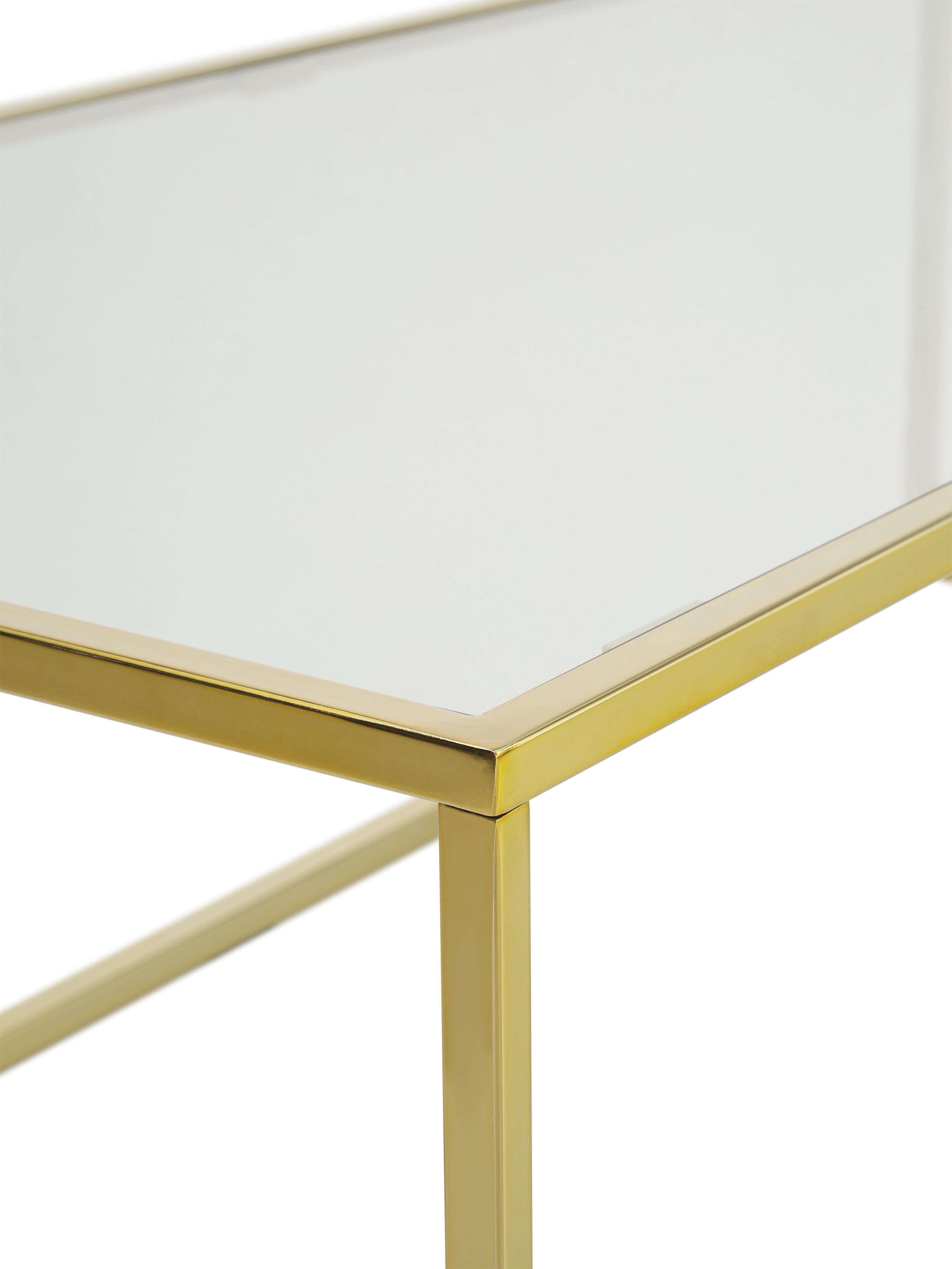 Table basse en verre Maya, Plateau: verre, transparent Structure: couleur dorée, brillant