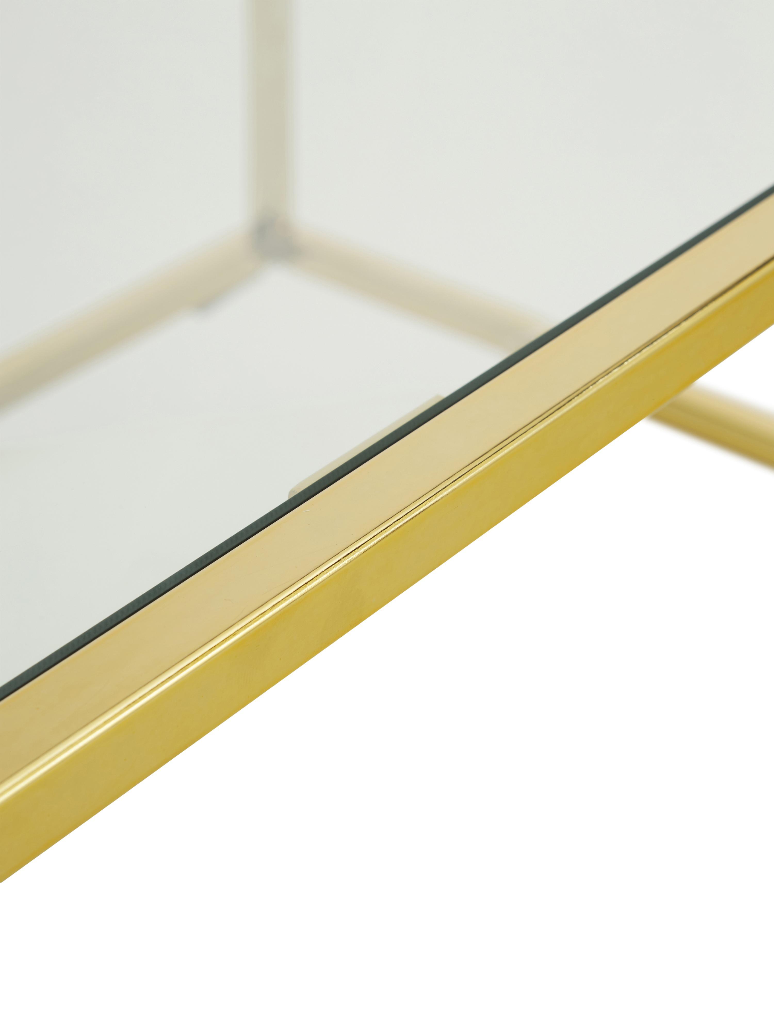 Mesa de centro Maya, tablero de cristal, Tablero: vidrio laminado, Estructura: metal galvanizado, Vidrio transparente, dorado brillante, An 110 x F 50 cm