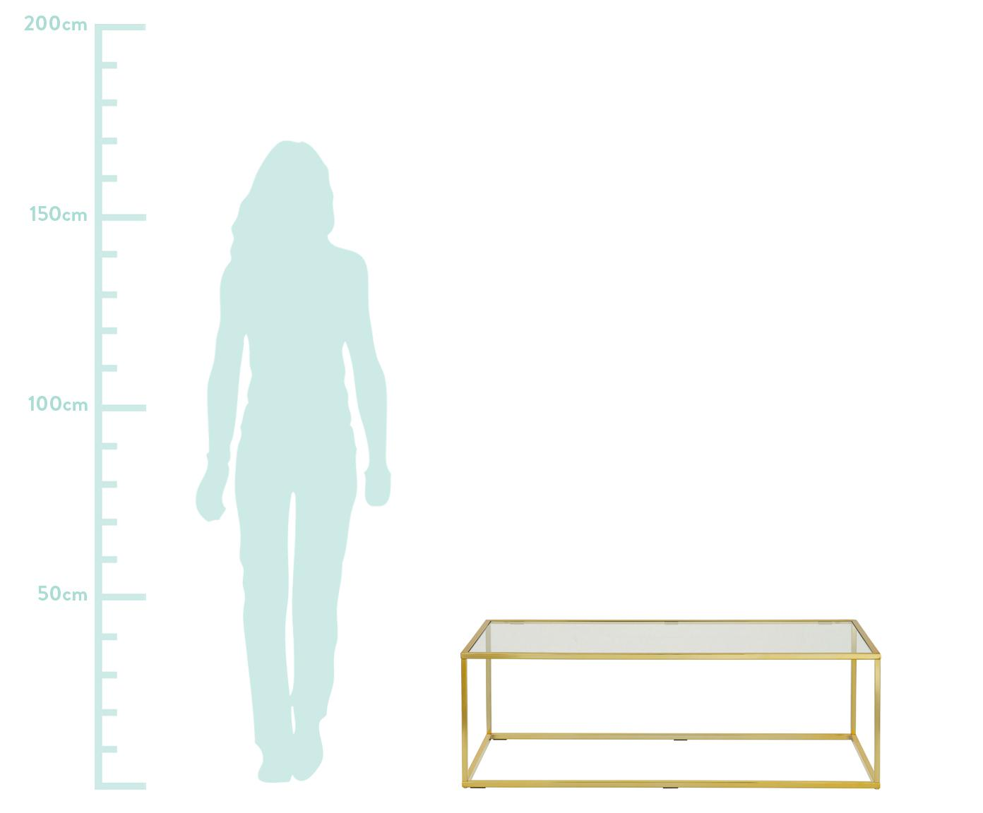 Salontafel Maya met glazen tafelblad, Tafelblad: veiligheidsglas, Frame: gegalvaniseerd metaal, Tafelblad: glas, transparant. Frame: glanzend goudkleurig, B 110 x D 50 cm