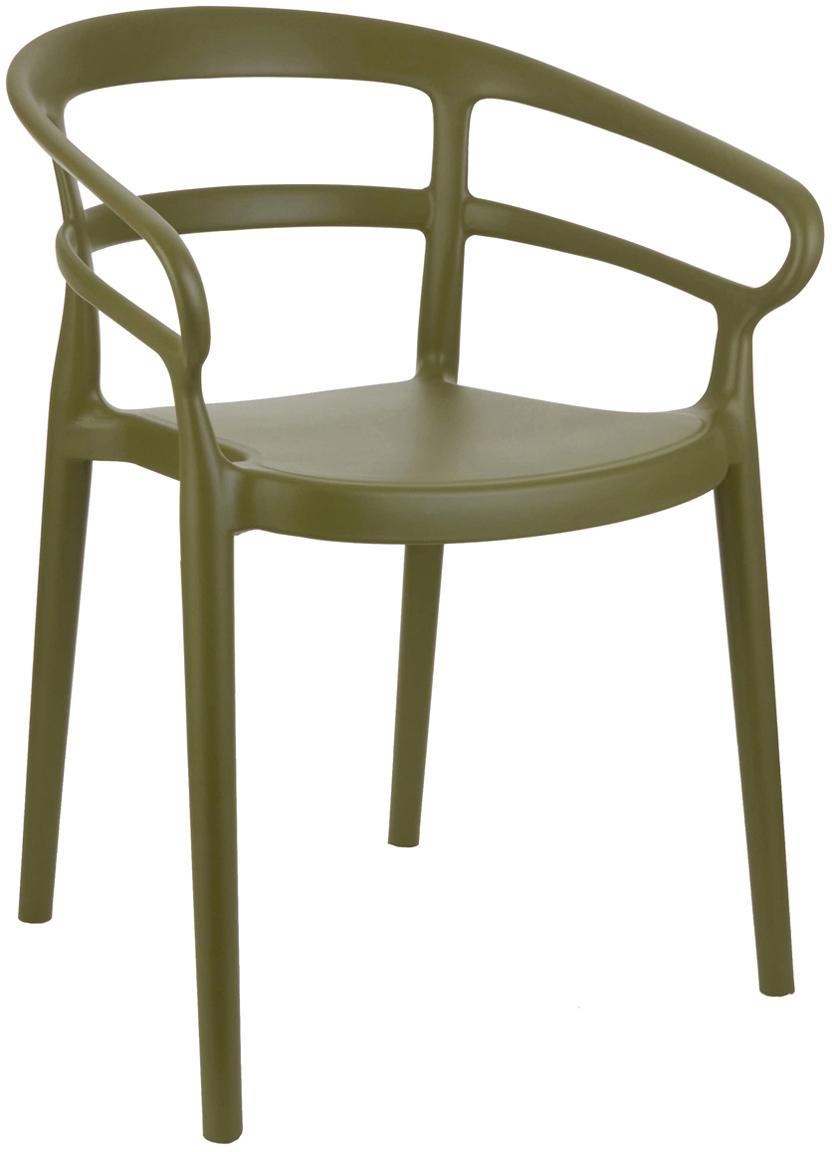 Sedia con braccioli in plastica Rodi 2 pz, Polipropilene, Verde, Larg. 52 x Prof. 57 cm