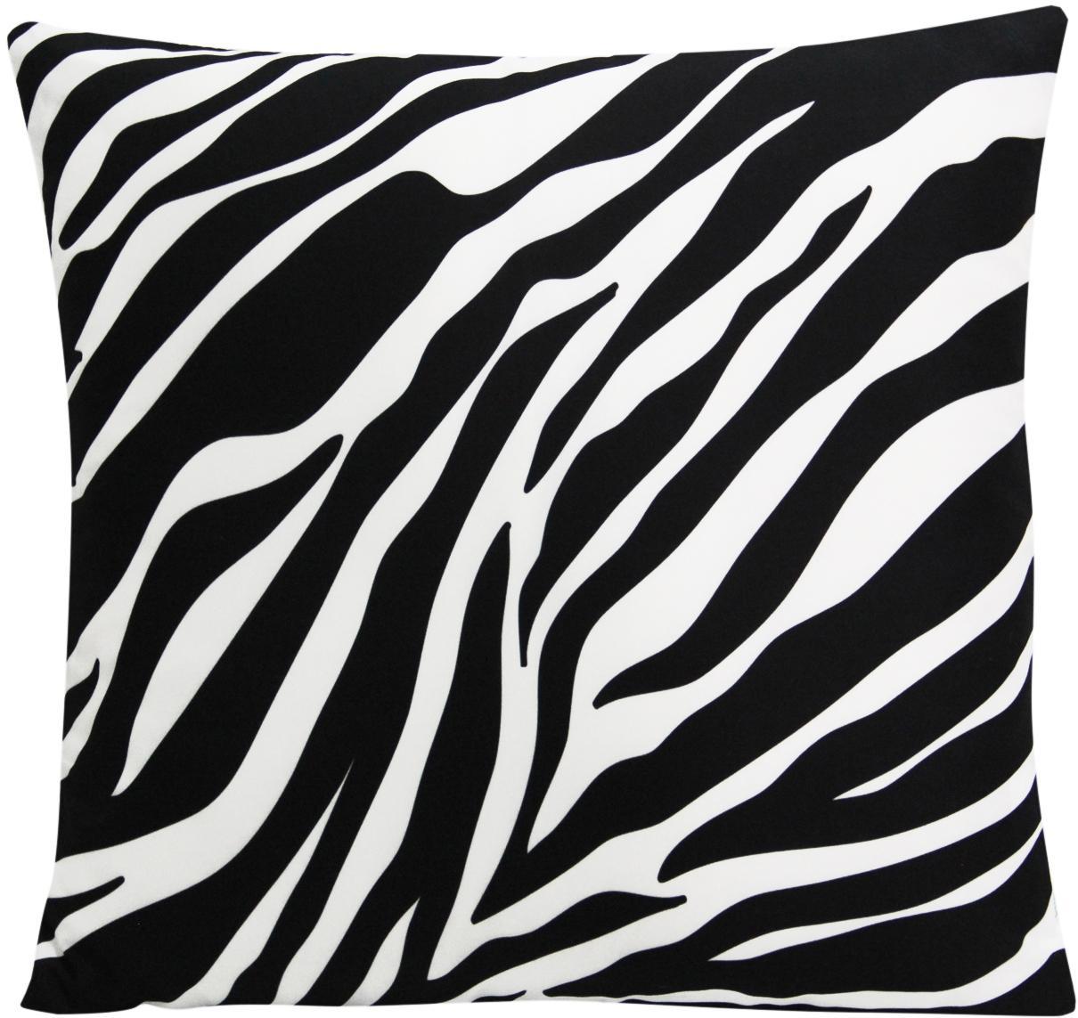Funda de cojín Zebra Pattern, 100%poliéster, Blanco, negro, An 45 x L 45 cm
