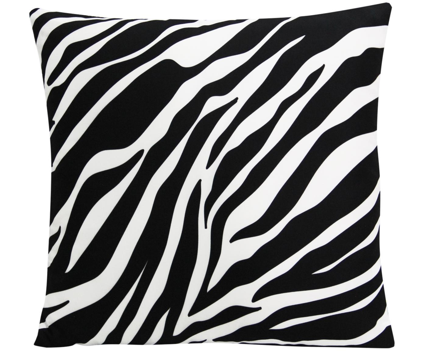 Kussenhoes Pattern met zebra print in zwart/wit, Polyester, Wit, zwart, 45 x 45 cm