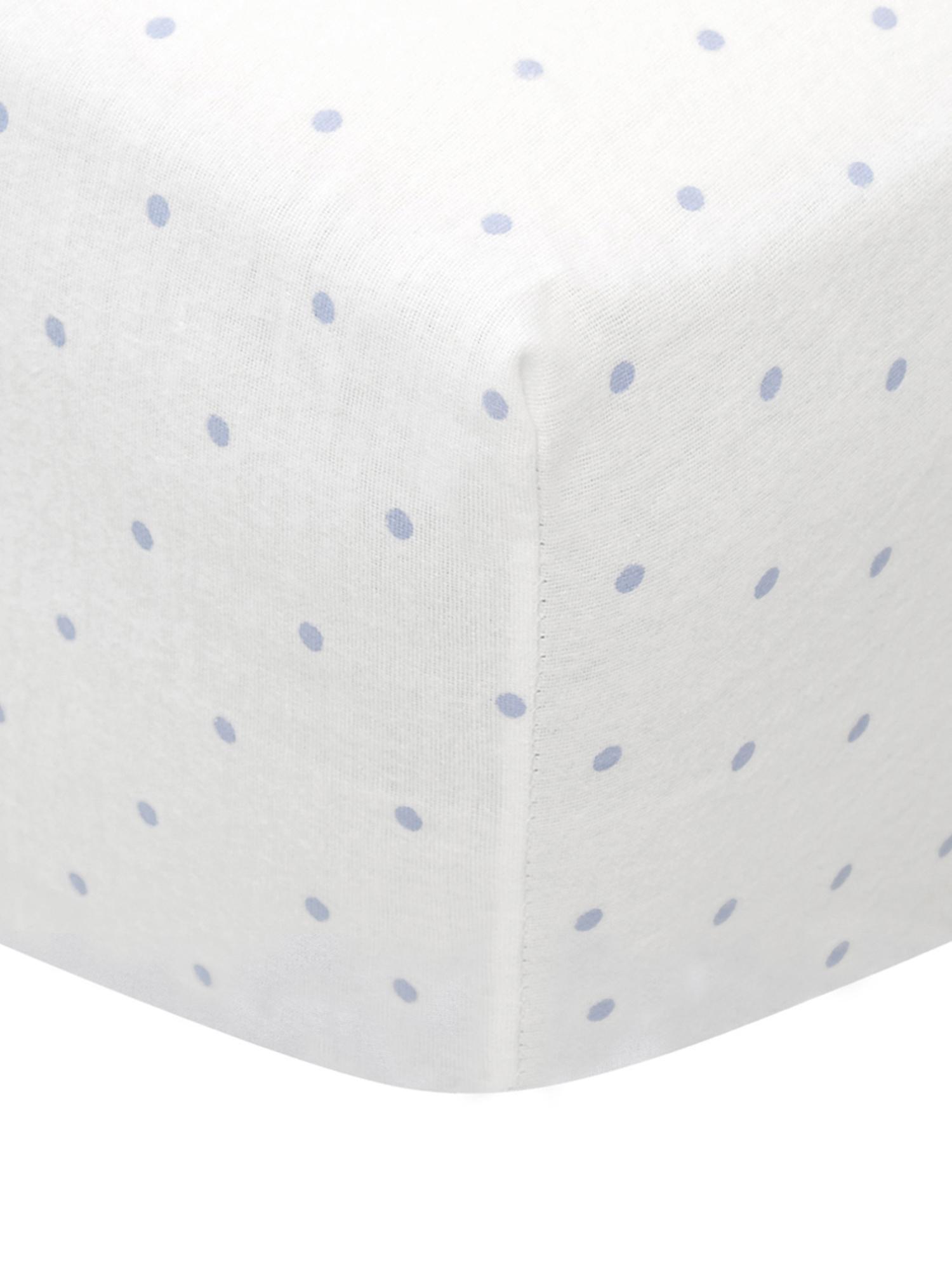 Feinbiber hoeslaken Elisa, 100% katoen, Feinbiber, Lichtblauw, wit, 180 x 200 cm
