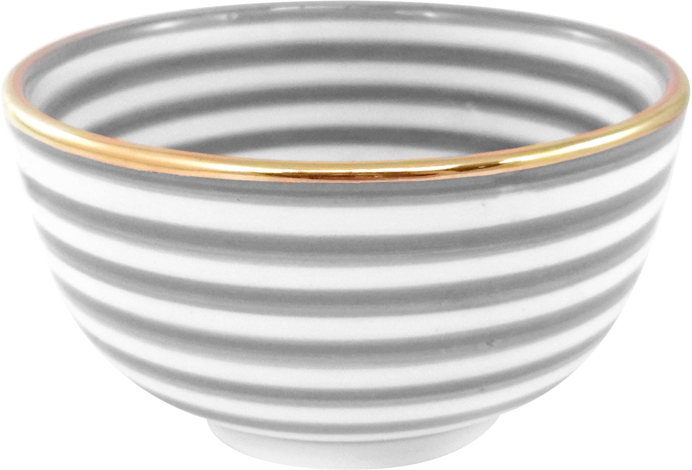 Handgemachtes Schälchen Moyen mit Goldrand, Keramik, Hellgrau, Cremefarben, Gold, Ø 15 x H 9 cm