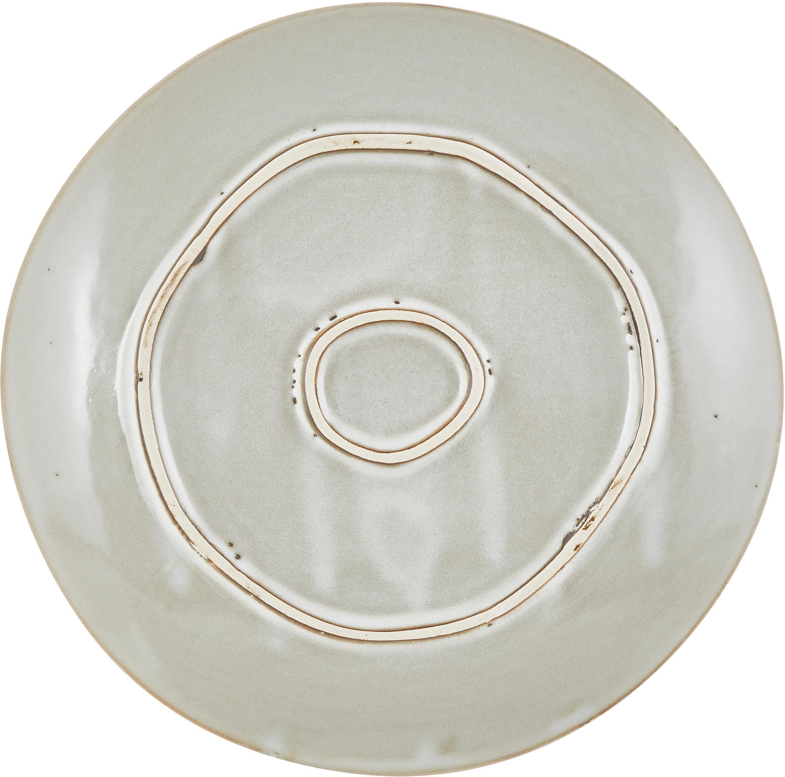Platos postre artesanales Thalia, 2uds., Gres, Beige, Ø 22 cm