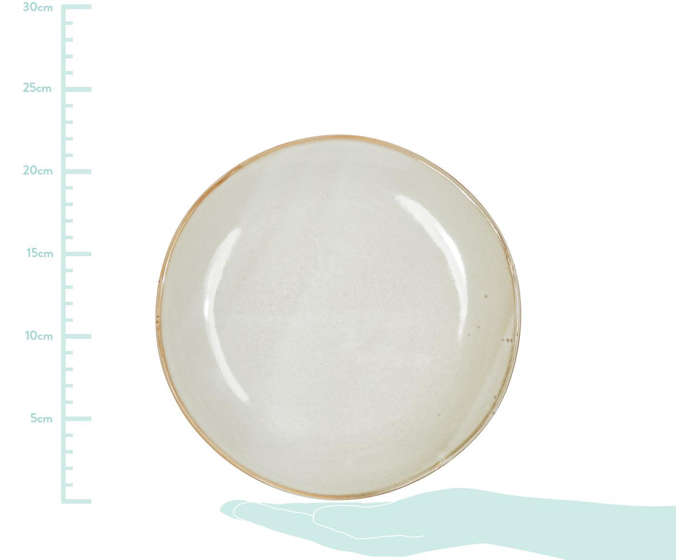 Handgemachte Frühstücksteller Thalia, 2 Stück, Steinzeug, Creme mit dunklem Rand, Ø 22 cm