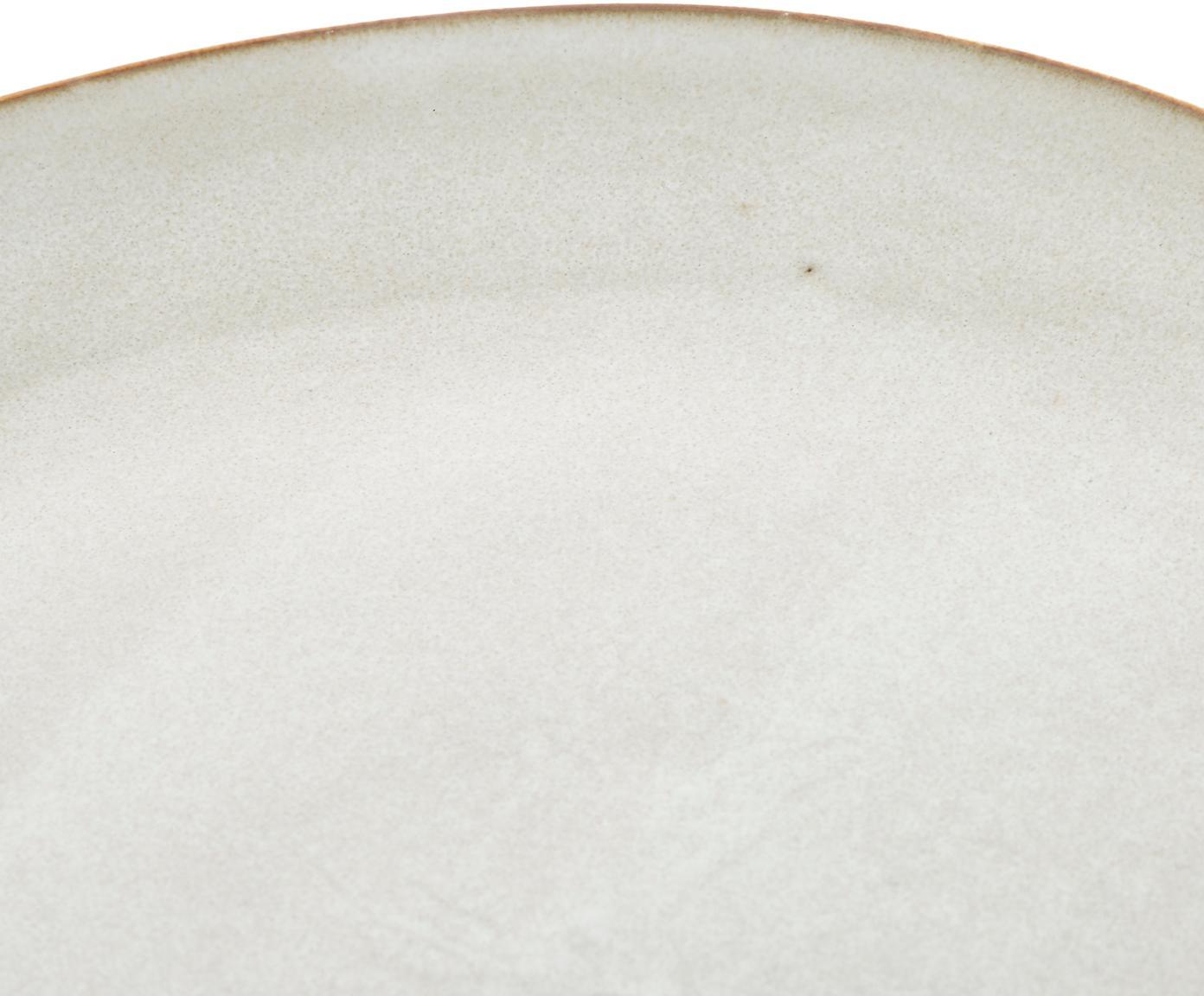 Ręcznie wykonany talerz śniadaniowy Thalia, 2 szt., Ceramika, Kremowy z ciemną krawędzią, Ø 22 cm