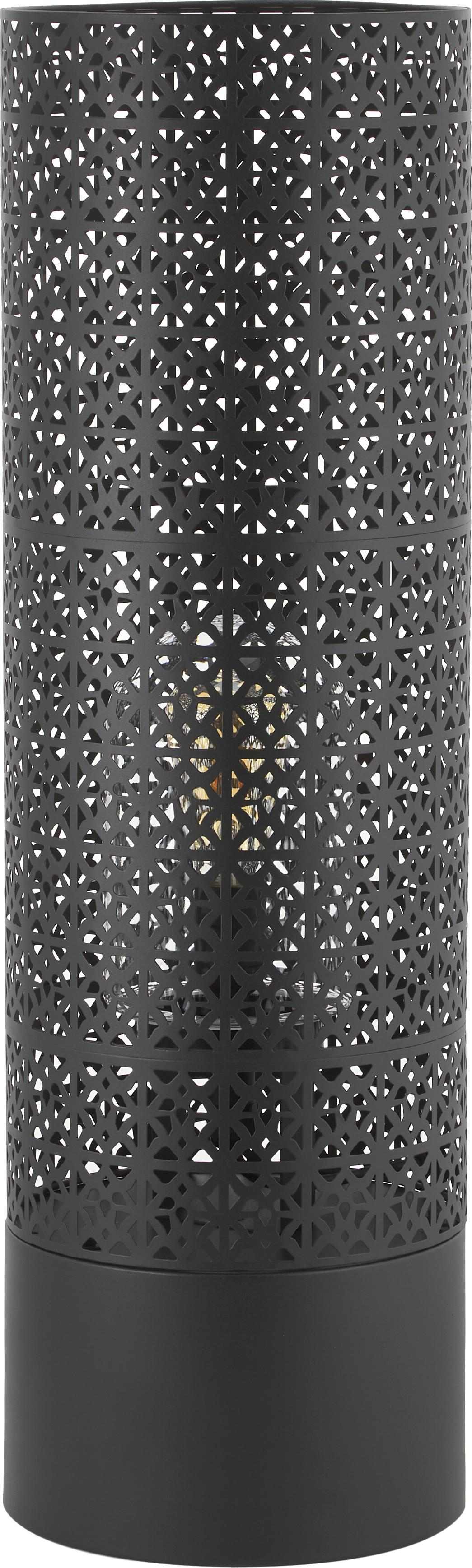 Boho outdoor vloerlamp Maison, Lamp: gepoedercoat metaal, Diffuser: glas, Zwart, Ø 24 x H 78 cm