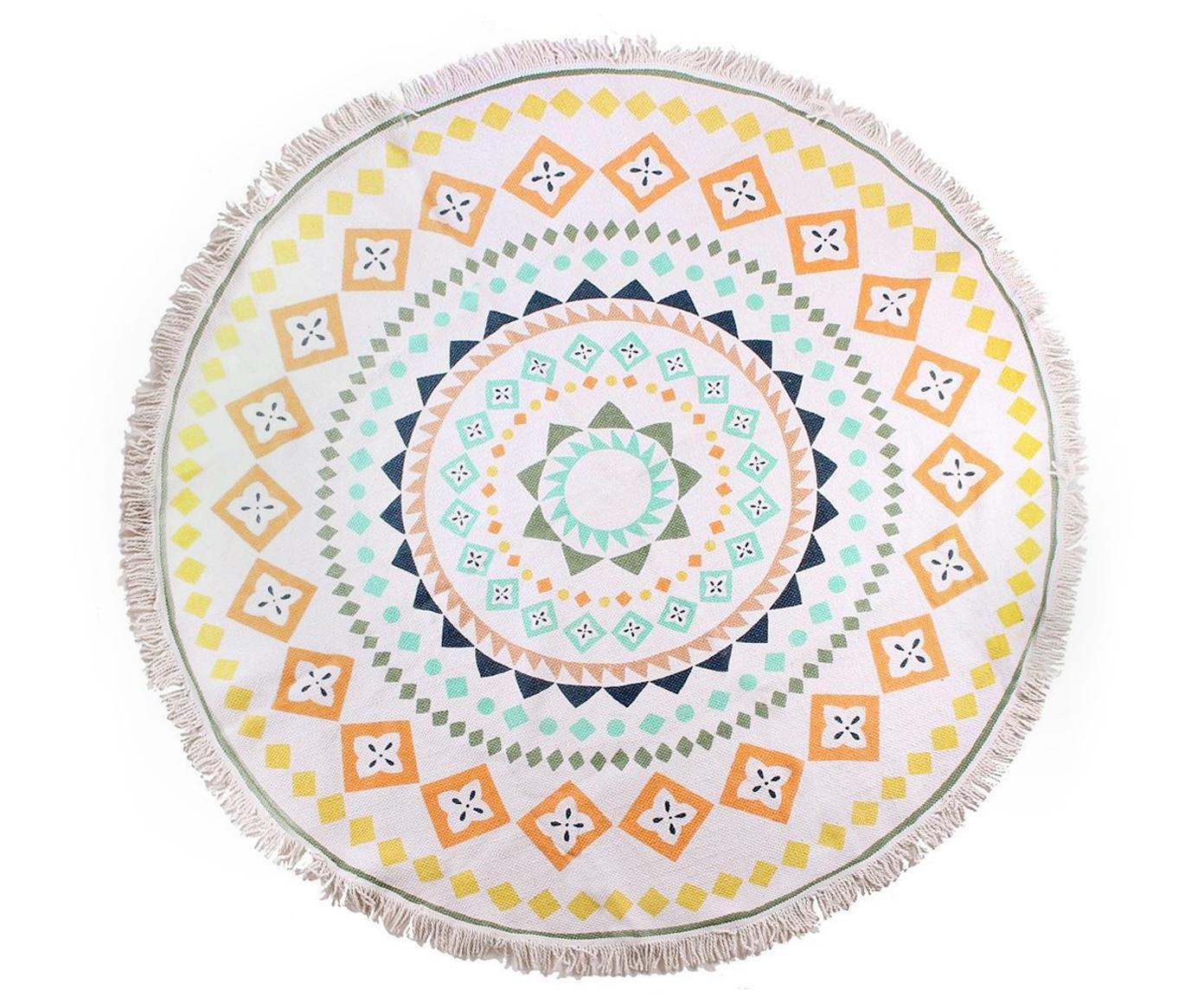 Bunt gemusterter Baumwollteppich Helge mit Fransen, rund, Mehrfarbig, Ø 180 cm (Größe L)
