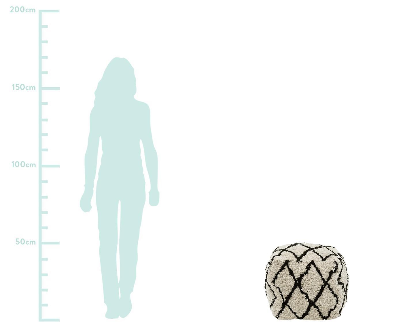 Ręcznie tuftowany puf Naima, Tapicerka: poliester, Beżowy, czarny, S 45 x W 45 cm