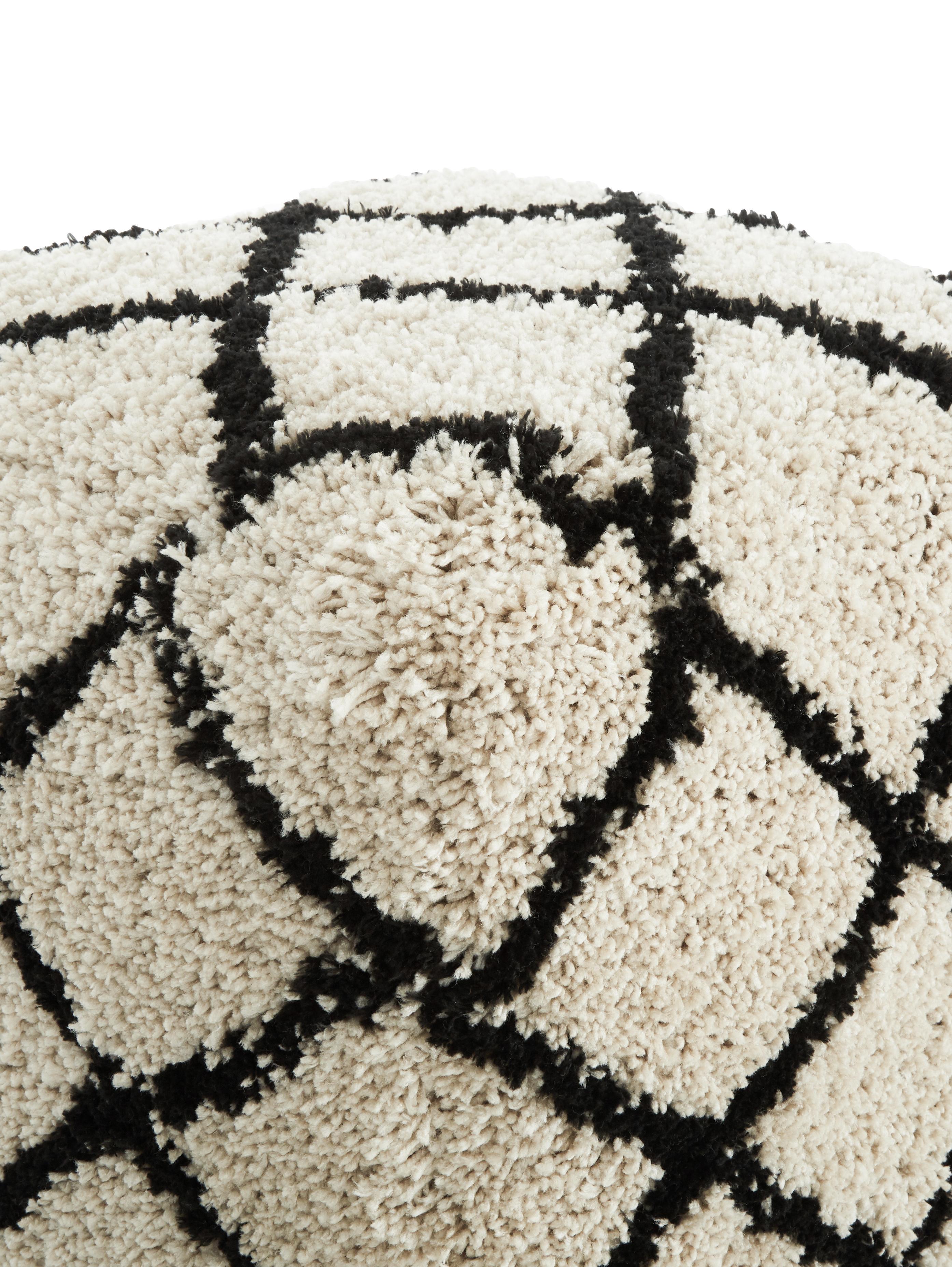 Handgetufteter Pouf Naima, Bezug: Polyester, Beige, Schwarz, 50 x 50 cm