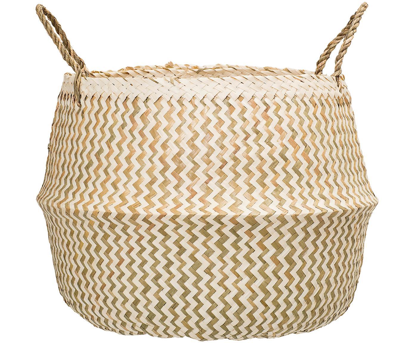 Cesta de almacenaje Meja, Junco marino, tejido, Beige, blanco, Ø 42 x Al 34 cm