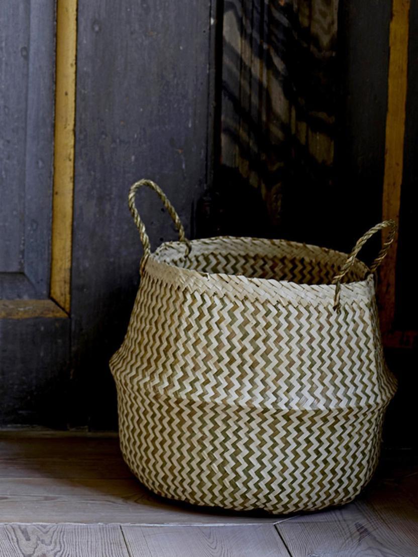Handgefertigter Aufbewahrungskorb Meja, Seegras, geflochten, Beige, Weiß, Ø 42 x H 34 cm