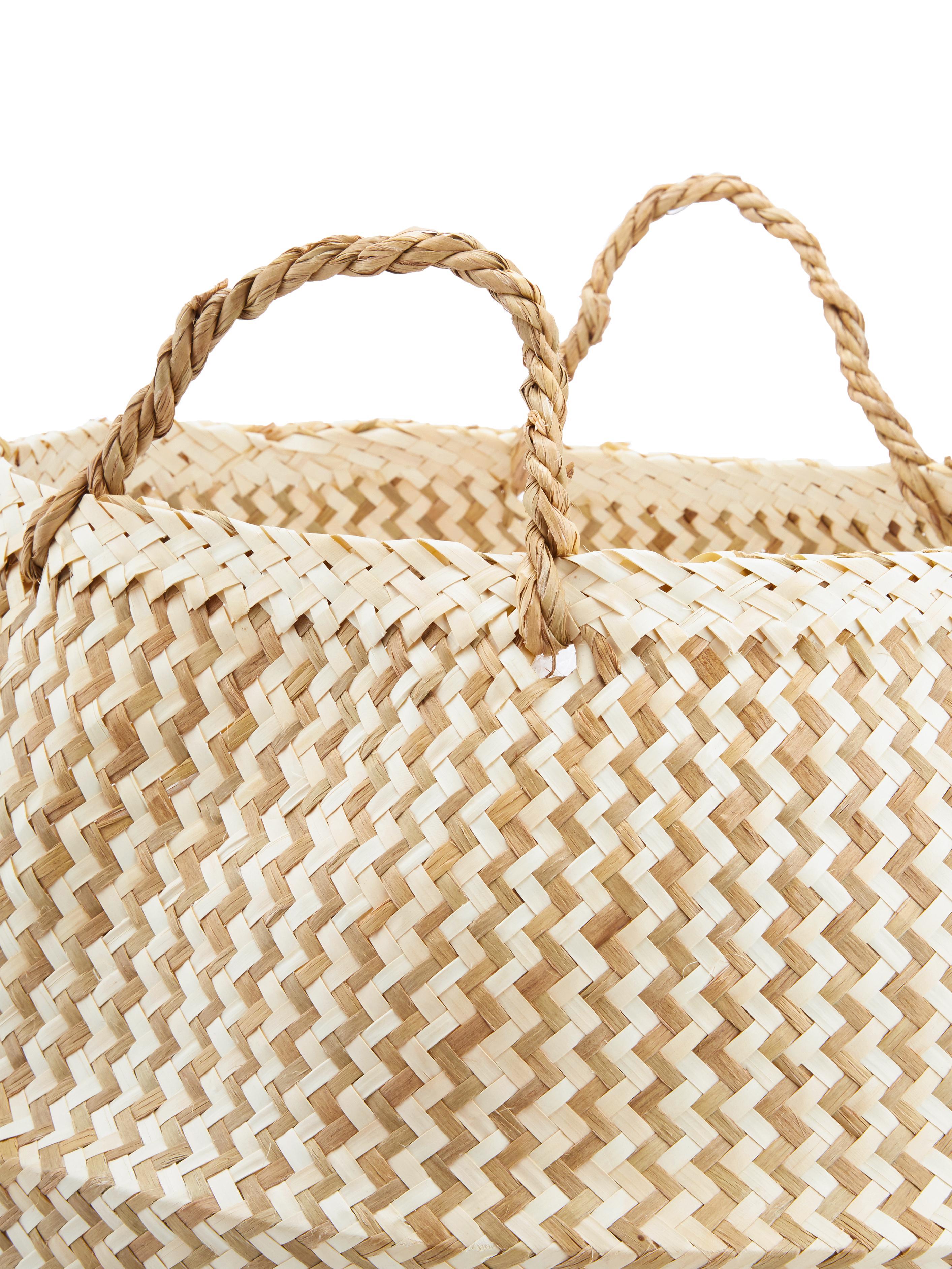 Ręcznie wykonany kosz do przechowywania Meja, Trawa morska, pleciona, Beżowy, biały, Ø 35 - 42  x W 34 cm