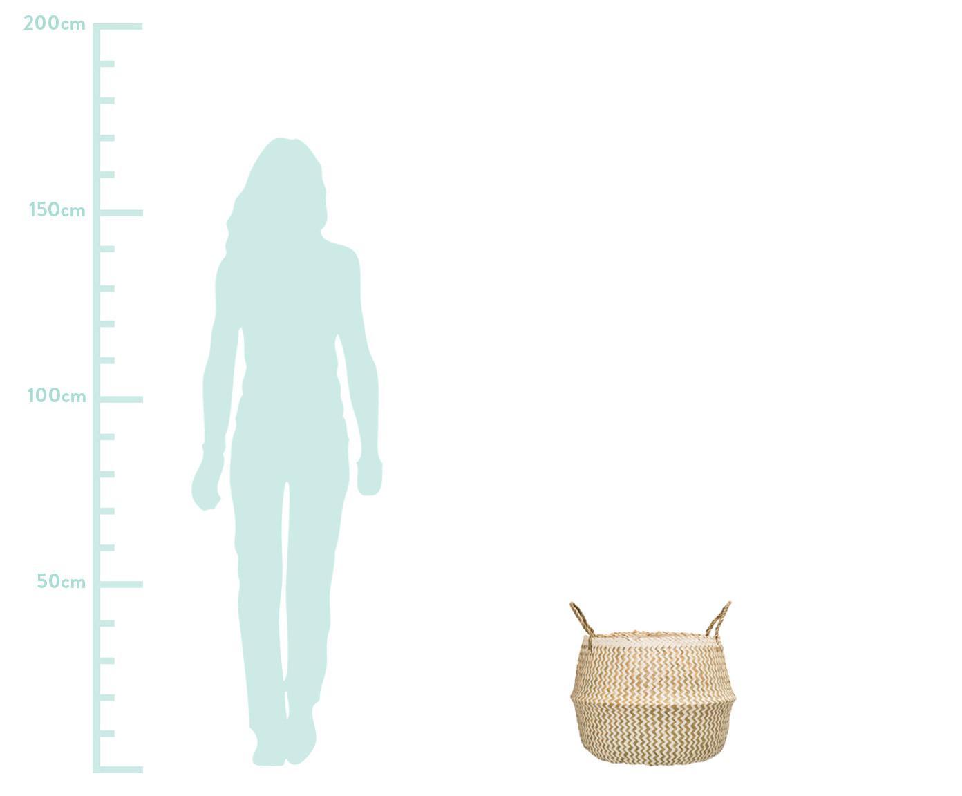 Kosz do przechowywania Meja, Trawa morska, pleciona, Beżowy, biały, Ø 42 x W 34 cm