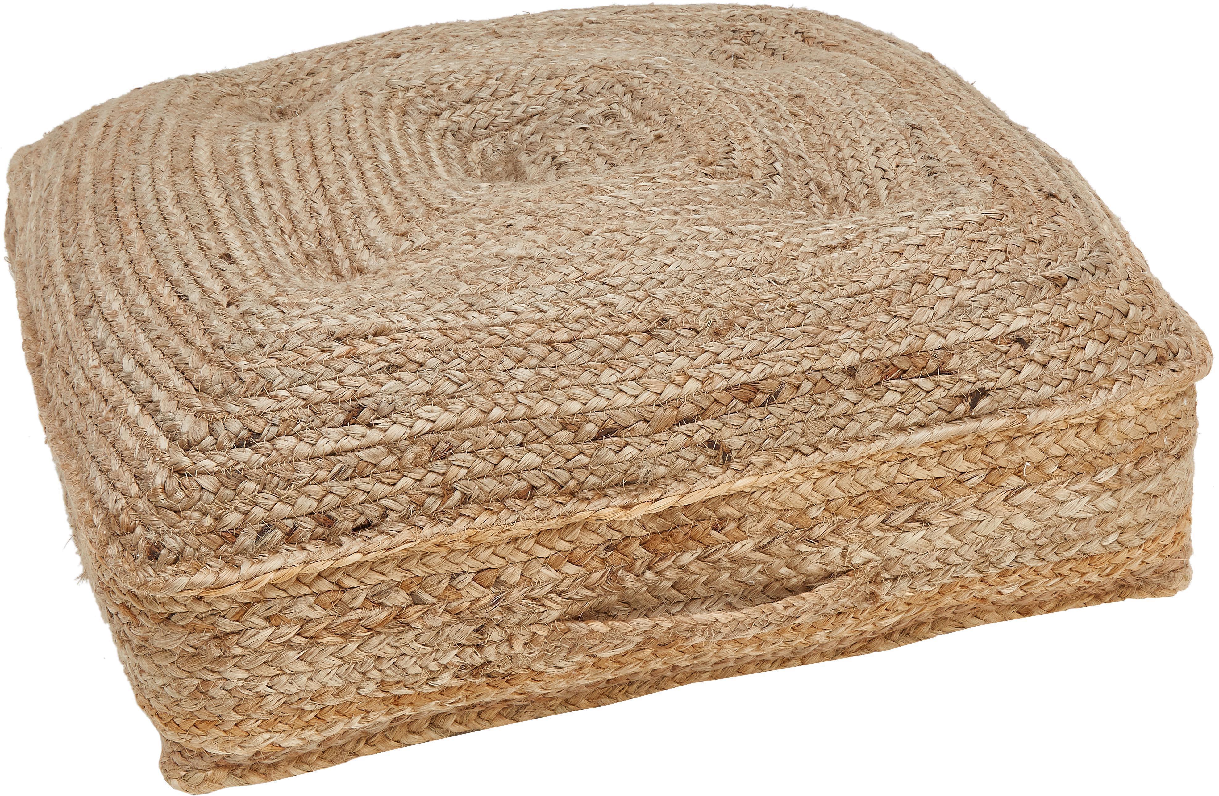 Cojín de suelo de yute Ural, Parte superior: yute, Yute, An 60 x Al 13 cm