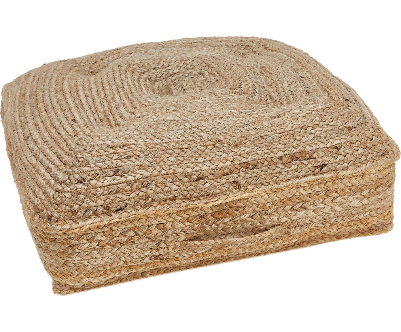 Jute-Bodenkissen Ural, Vorderseite: Jute, Rückseite: Baumwolle, Jute, 60 x 13 cm