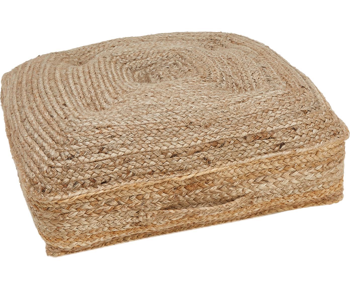 Juten vloerkussen Ural, Bovenzijde: jute, Onderzijde: katoen, Jutekleurig, 60 x 60 cm